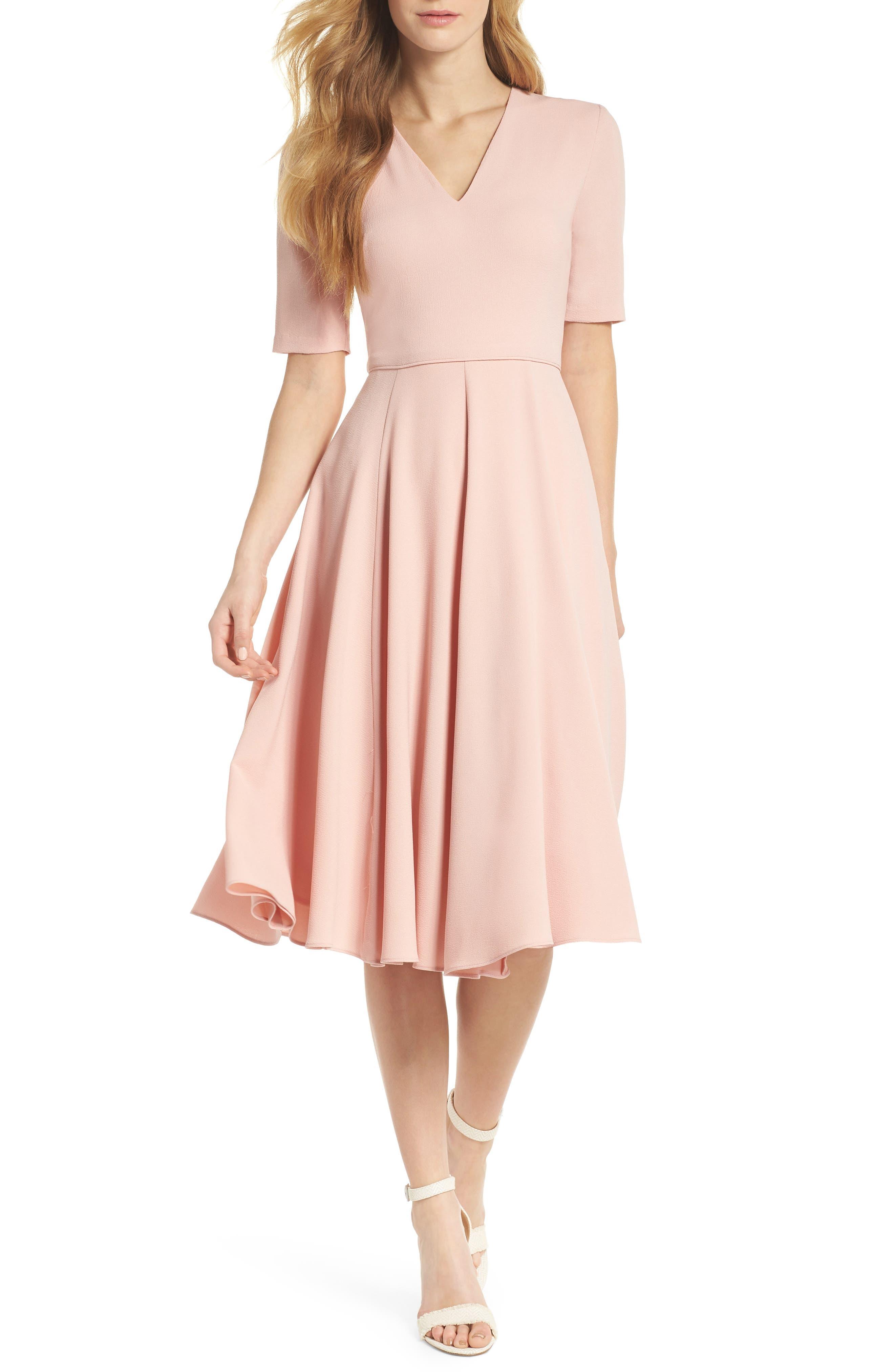 Edith City Crepe Fit & Flare Dress,                         Main,                         color, Mauve