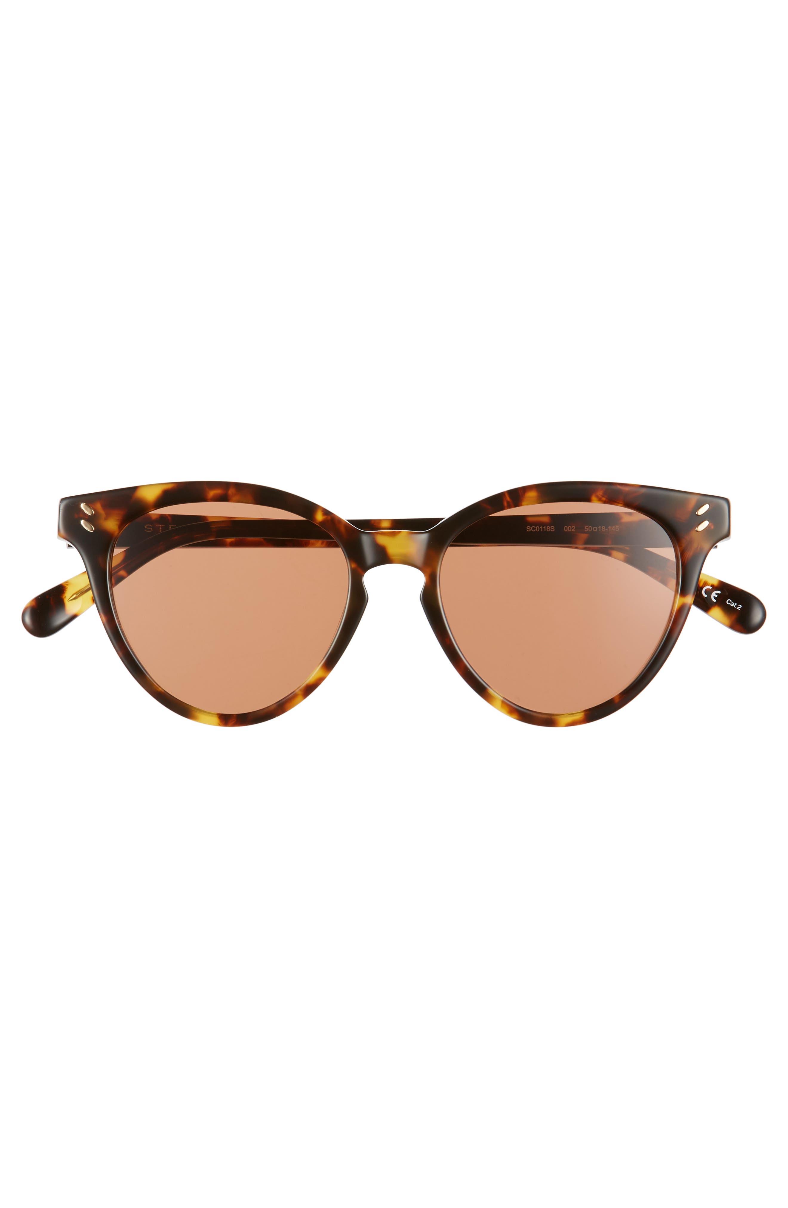 50mm Round Sunglasses,                             Alternate thumbnail 3, color,                             Medium Havana