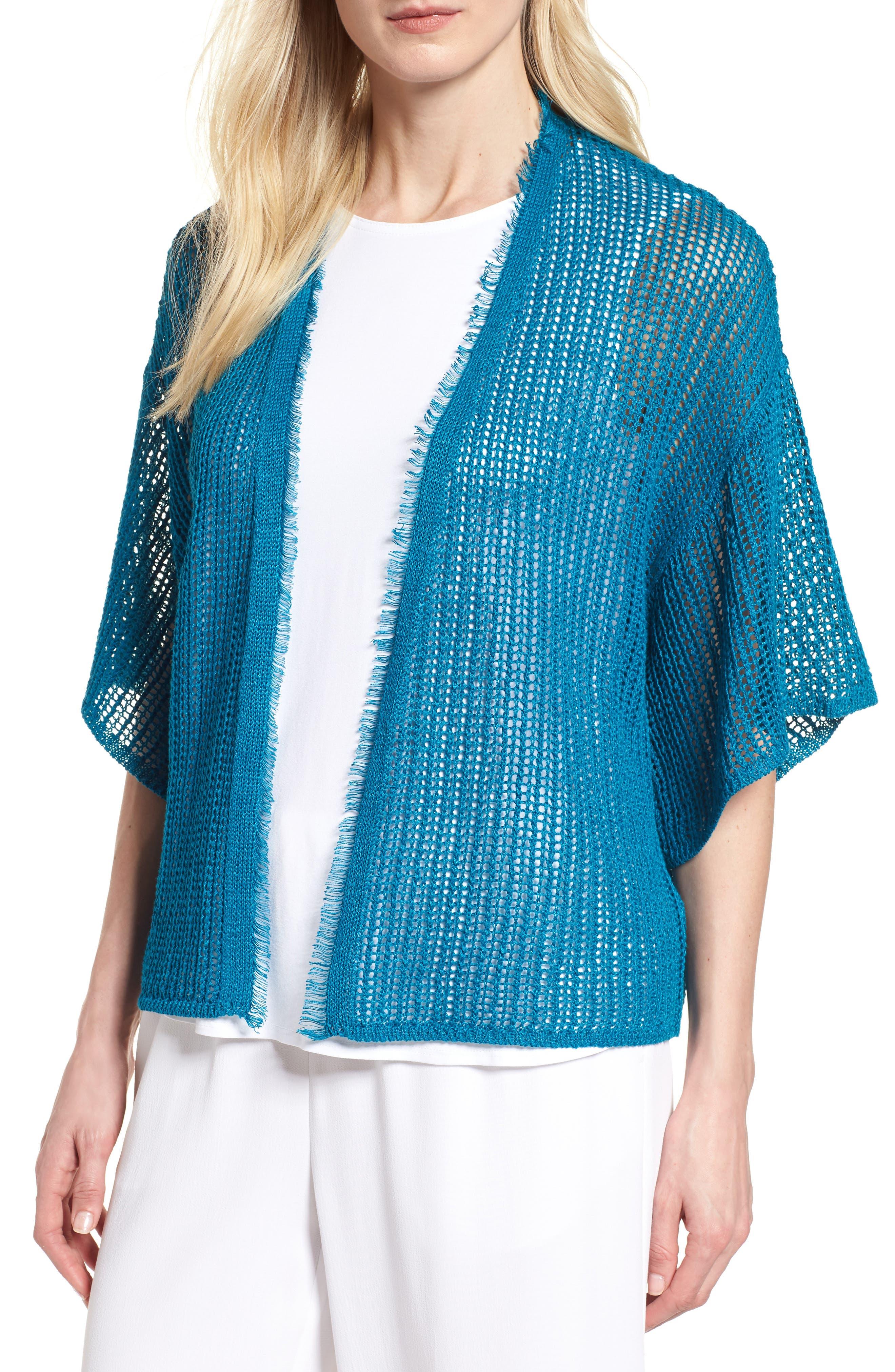 Short Organic Linen Cardigan,                             Main thumbnail 1, color,                             Jewel