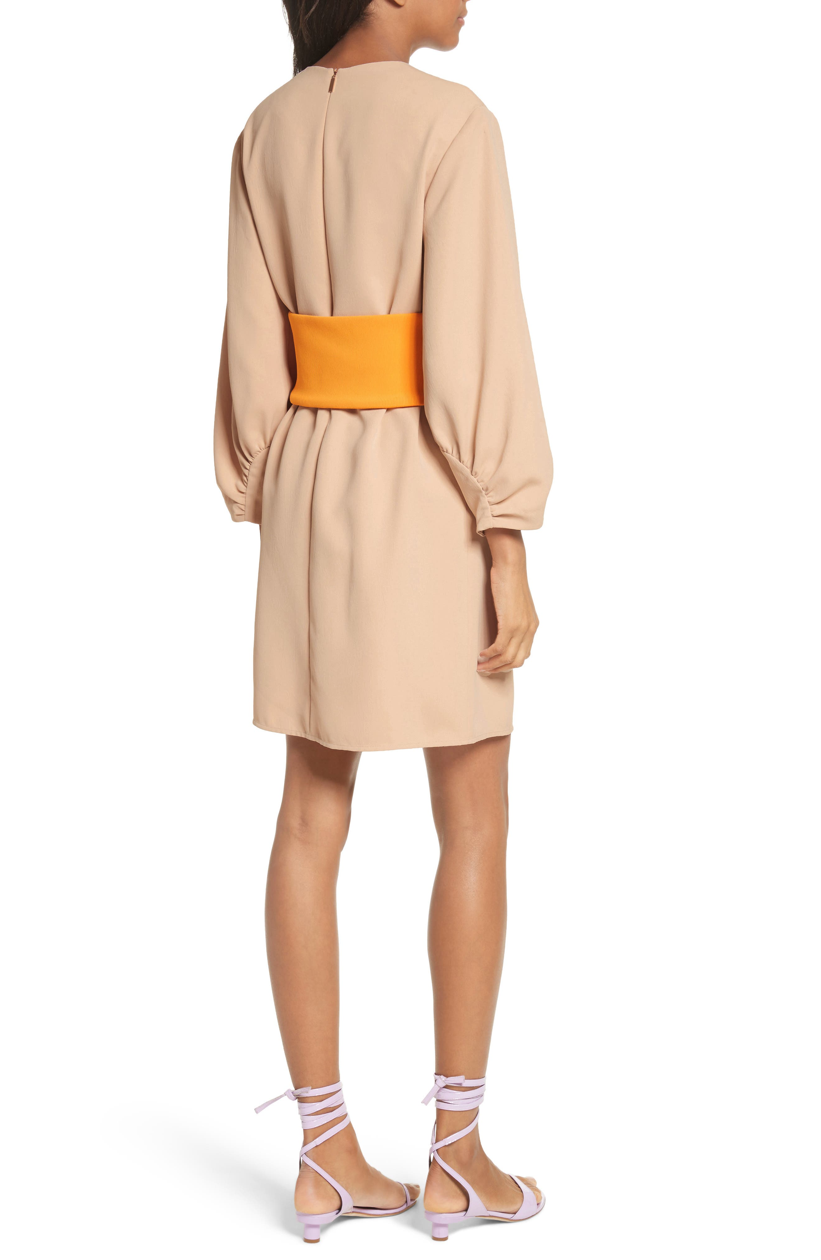Shirred Sleeve Corset Dress,                             Alternate thumbnail 2, color,                             Nude/ Orange Multi
