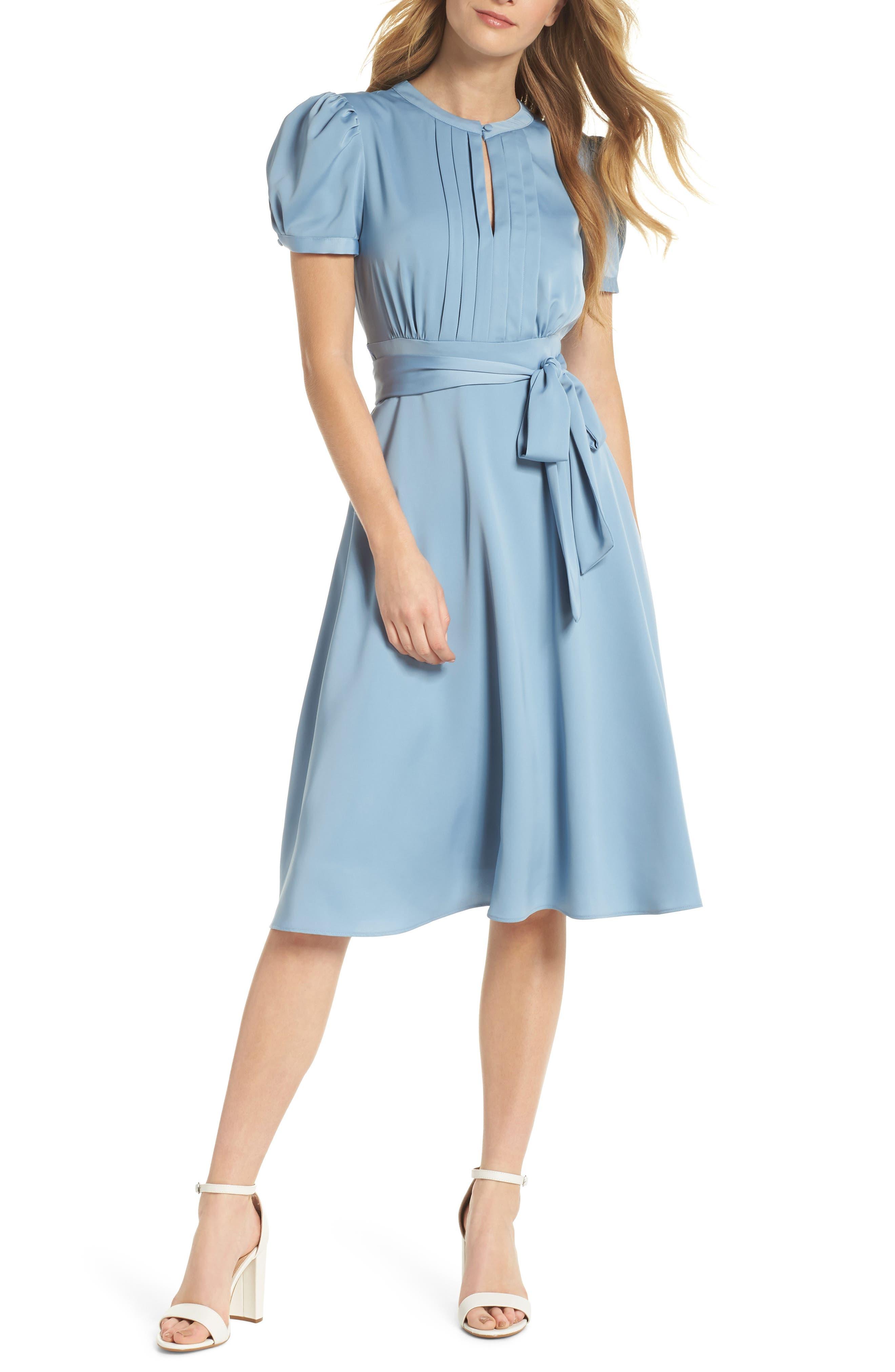 Marilyn Satin Fit & Flare Dress,                         Main,                         color, Cornflower