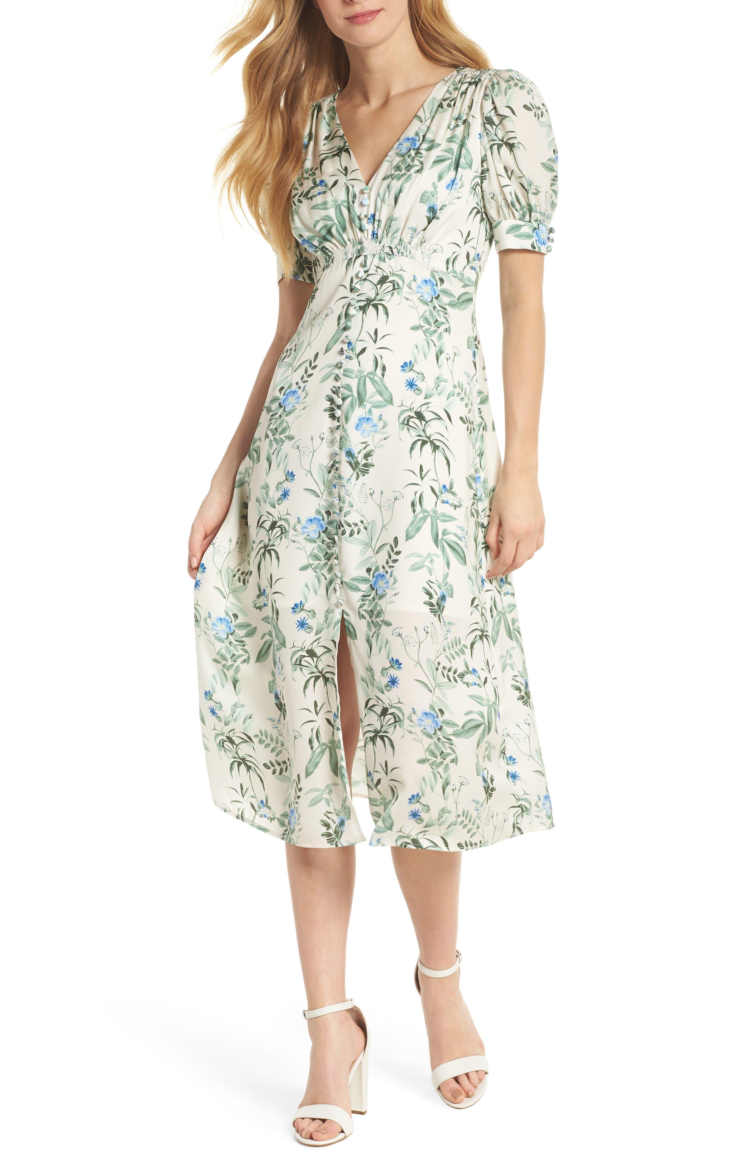 Lauren Botanical Garden Print Midi Dress,                             Main thumbnail 1, color,                             Bone/ Blue