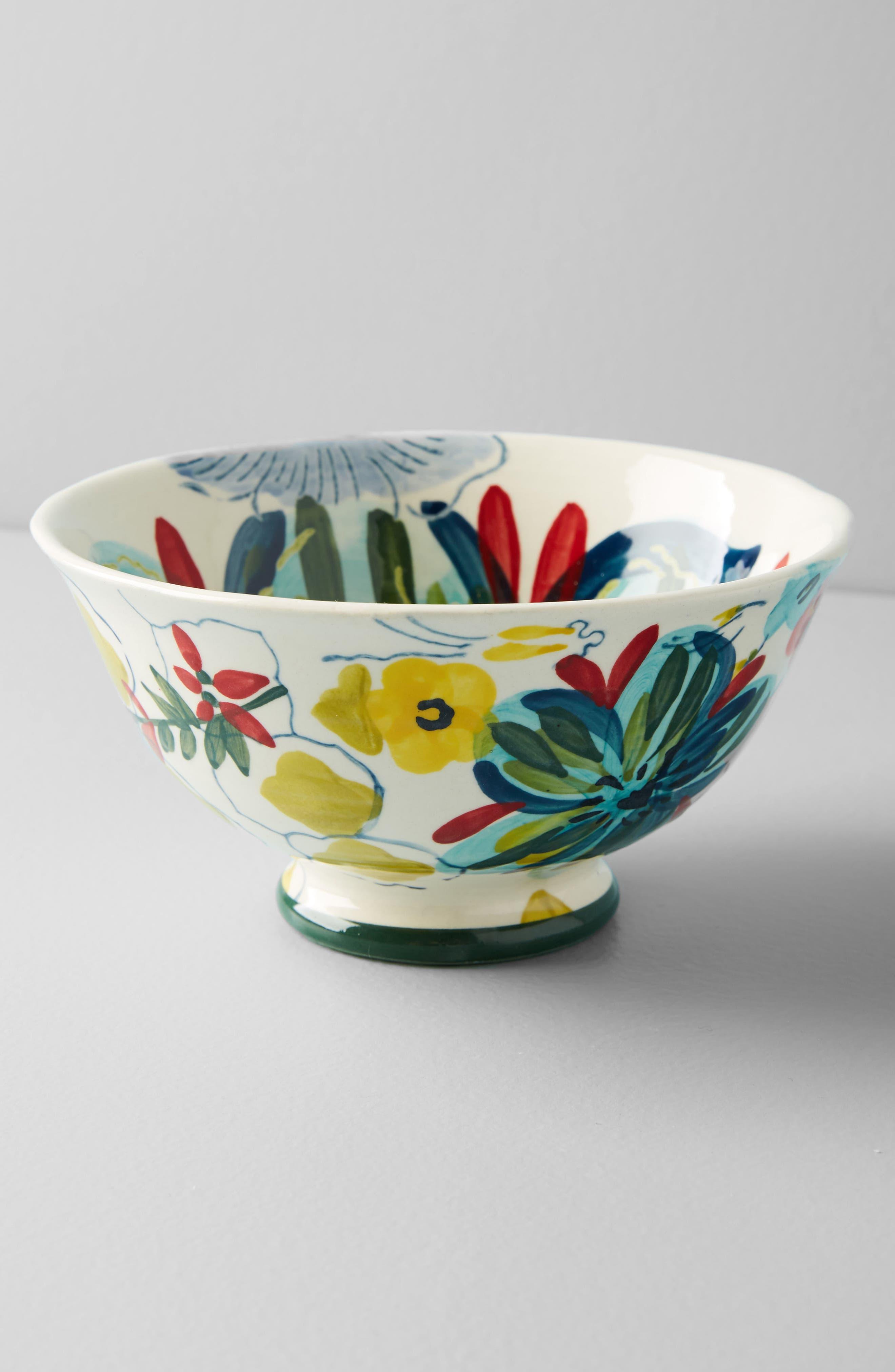 Sissinghurst Castle Stoneware Cereal Bowl,                             Alternate thumbnail 3, color,                             Navy Multi