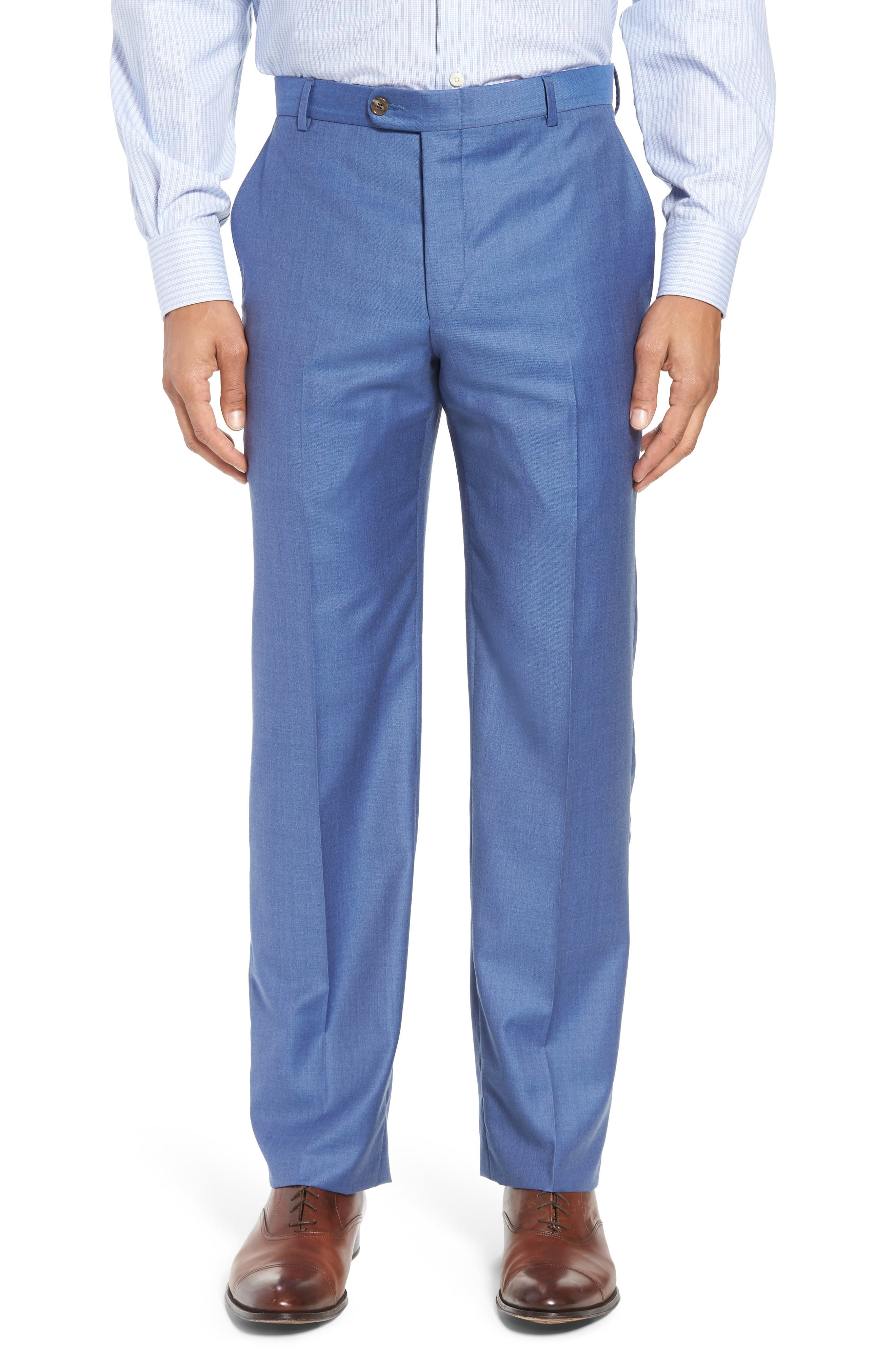 Classic B Fit Solid Wool Suit,                             Alternate thumbnail 6, color,                             Light Blue Solid