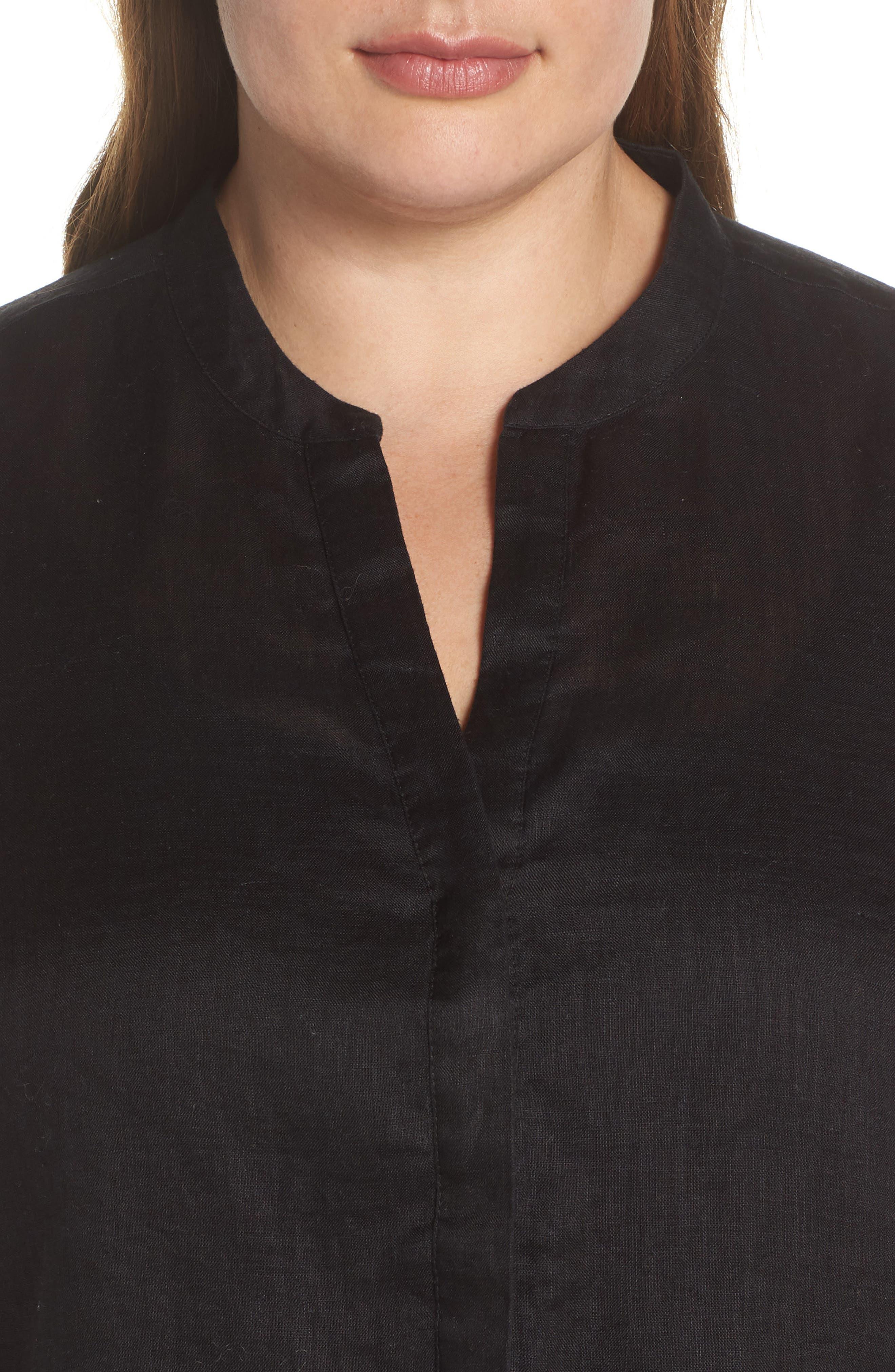 Bubble Dot Trim Linen Top,                             Alternate thumbnail 4, color,                             Rich Black