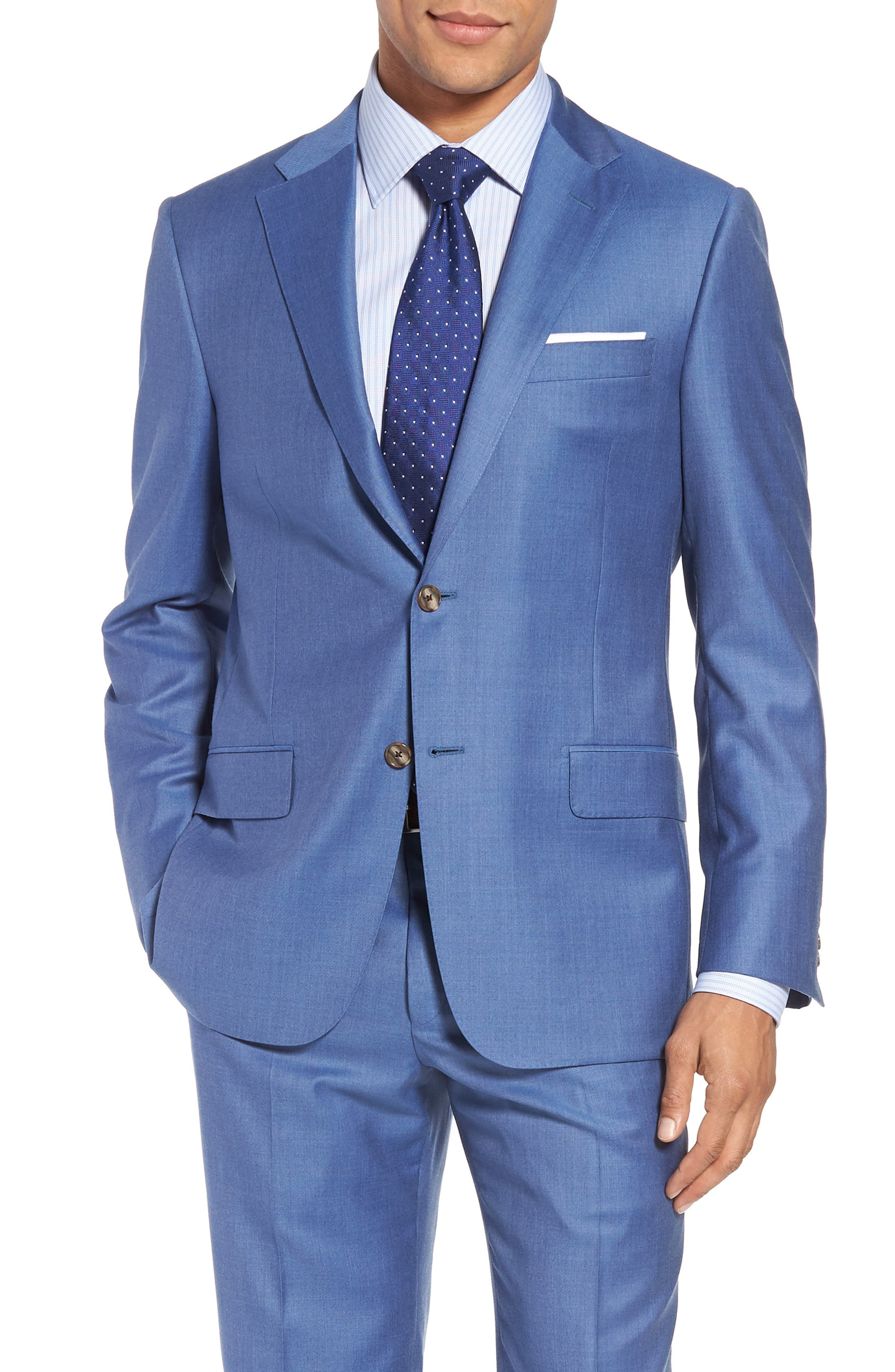 Classic B Fit Solid Wool Suit,                             Alternate thumbnail 5, color,                             Light Blue Solid