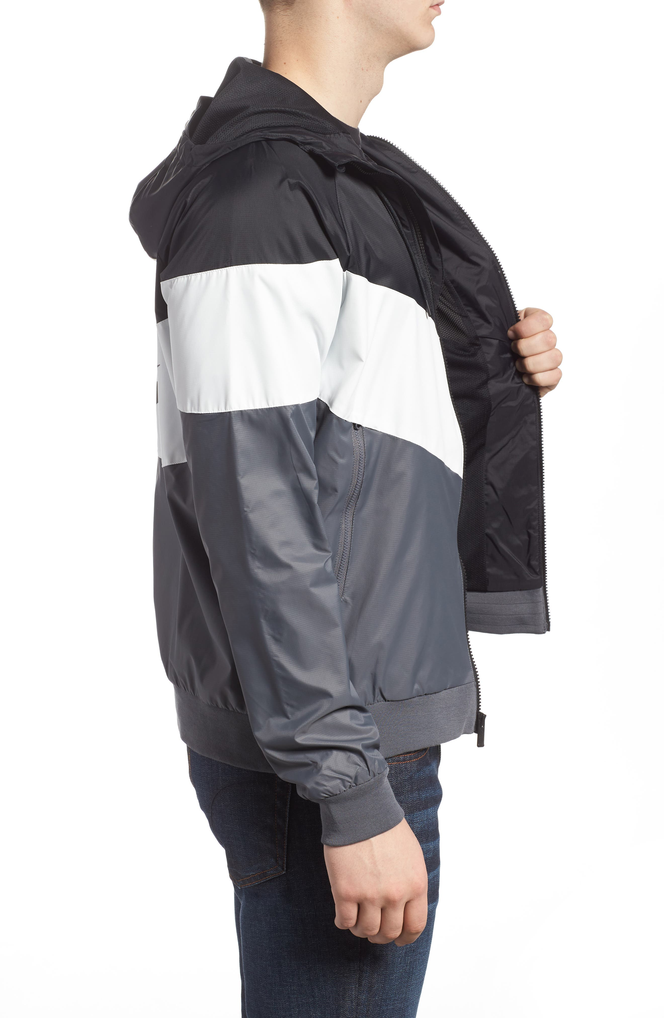 Windrunner Wind & Water Repellent Hooded Jacket,                             Alternate thumbnail 3, color,                             Black/ Summit White/ Dark Grey