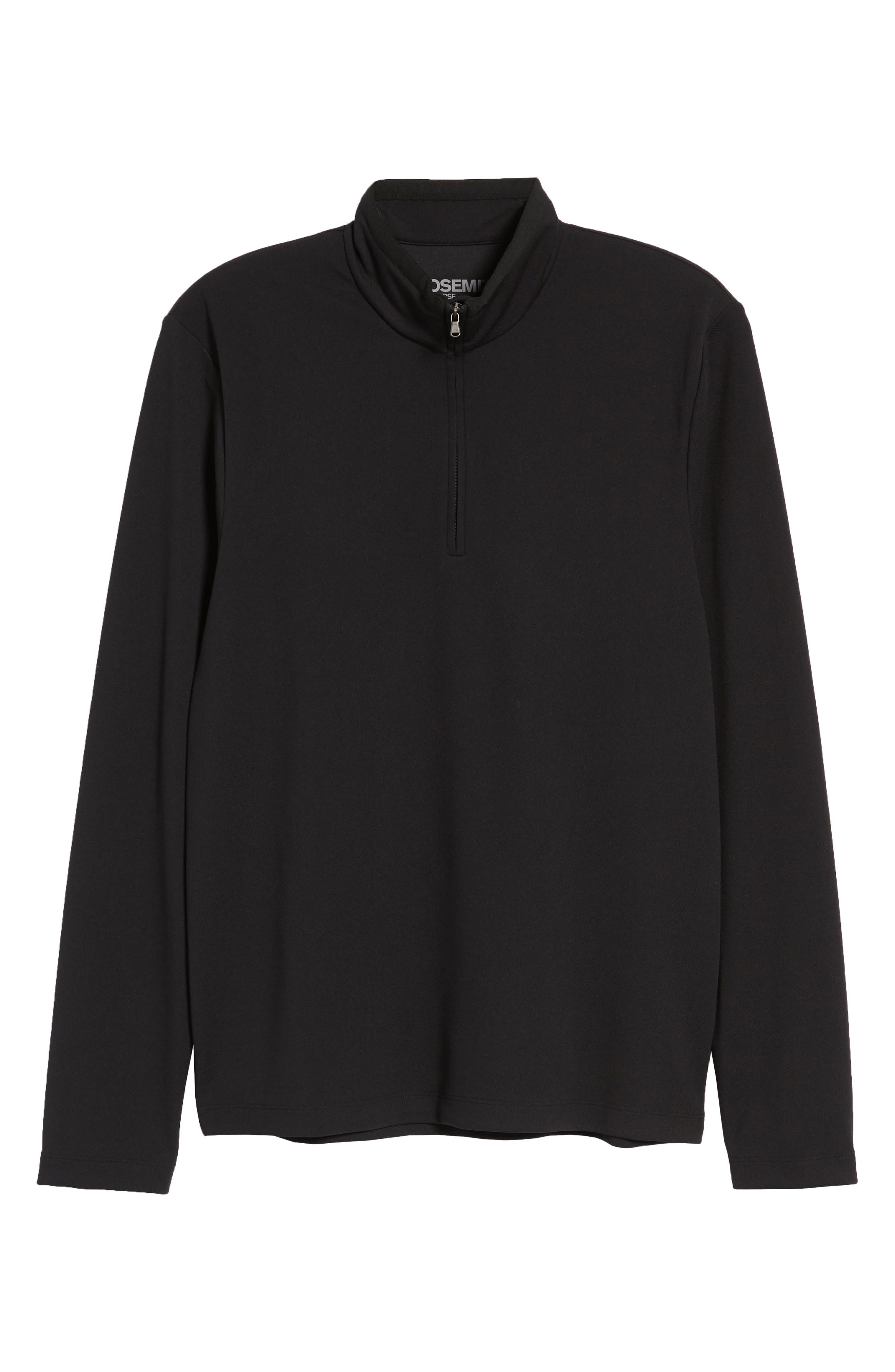Performance Quarter Zip Pullover,                             Alternate thumbnail 6, color,                             Black/ Black