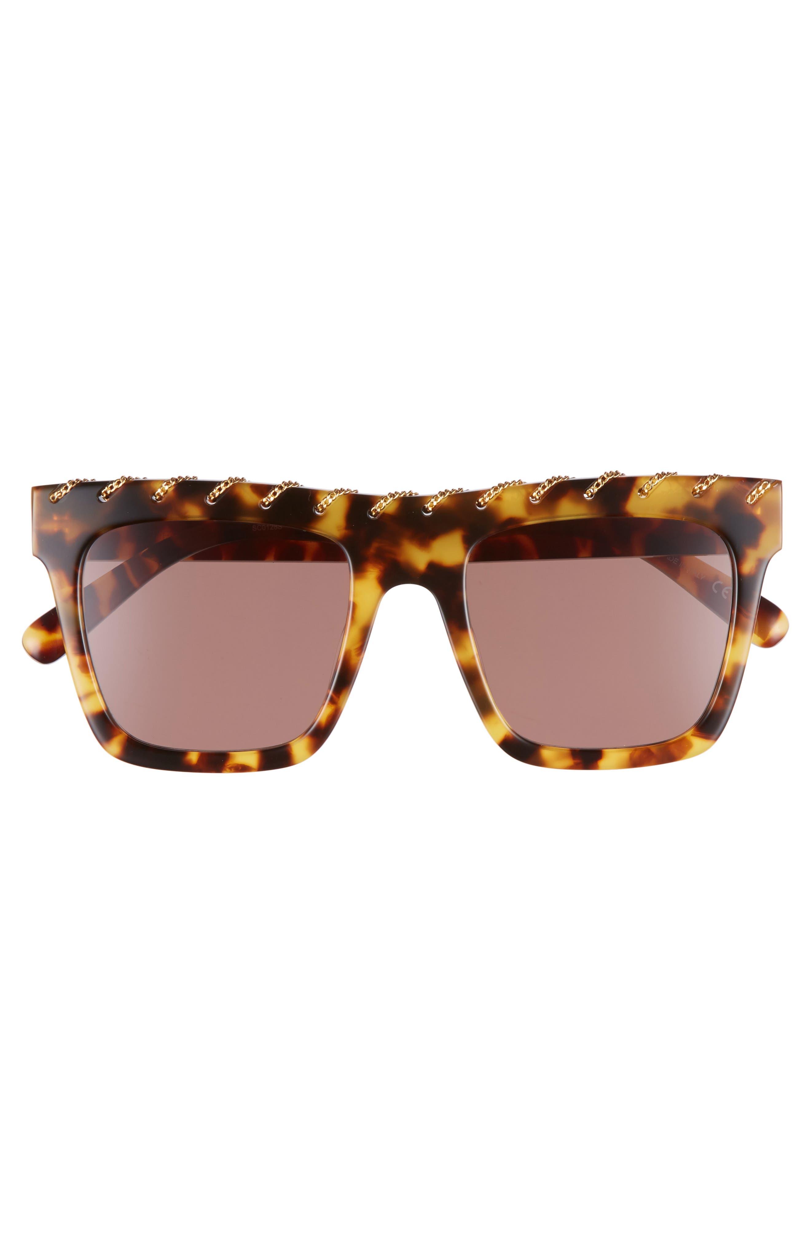 51mm Chain Detail Square Sunglasses,                             Alternate thumbnail 3, color,                             Medium Havana/ Gold