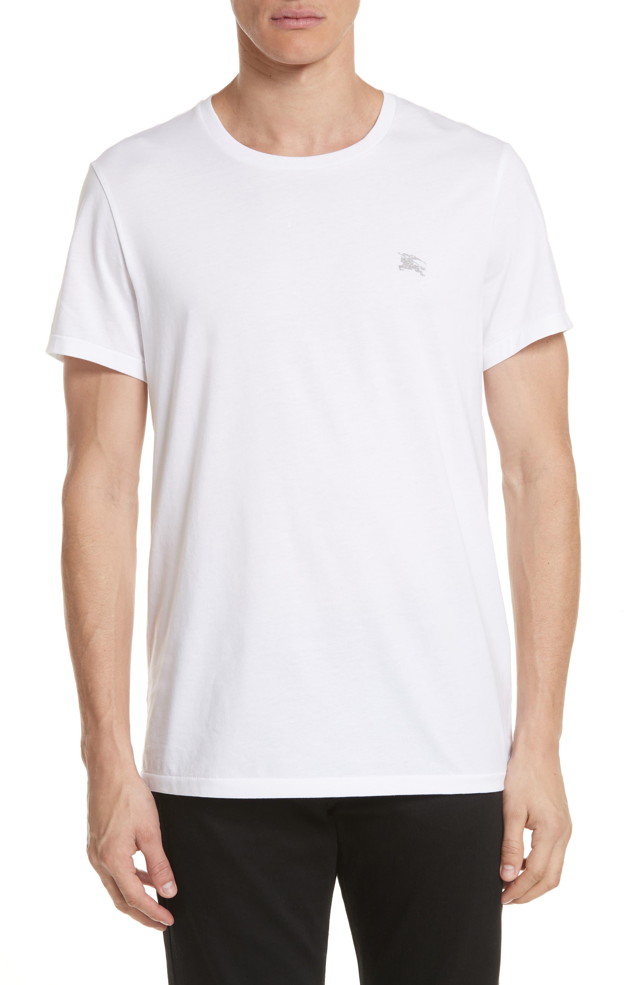 Logo Embroidered Crewneck T-shirt.,                             Main thumbnail 1, color,                             White