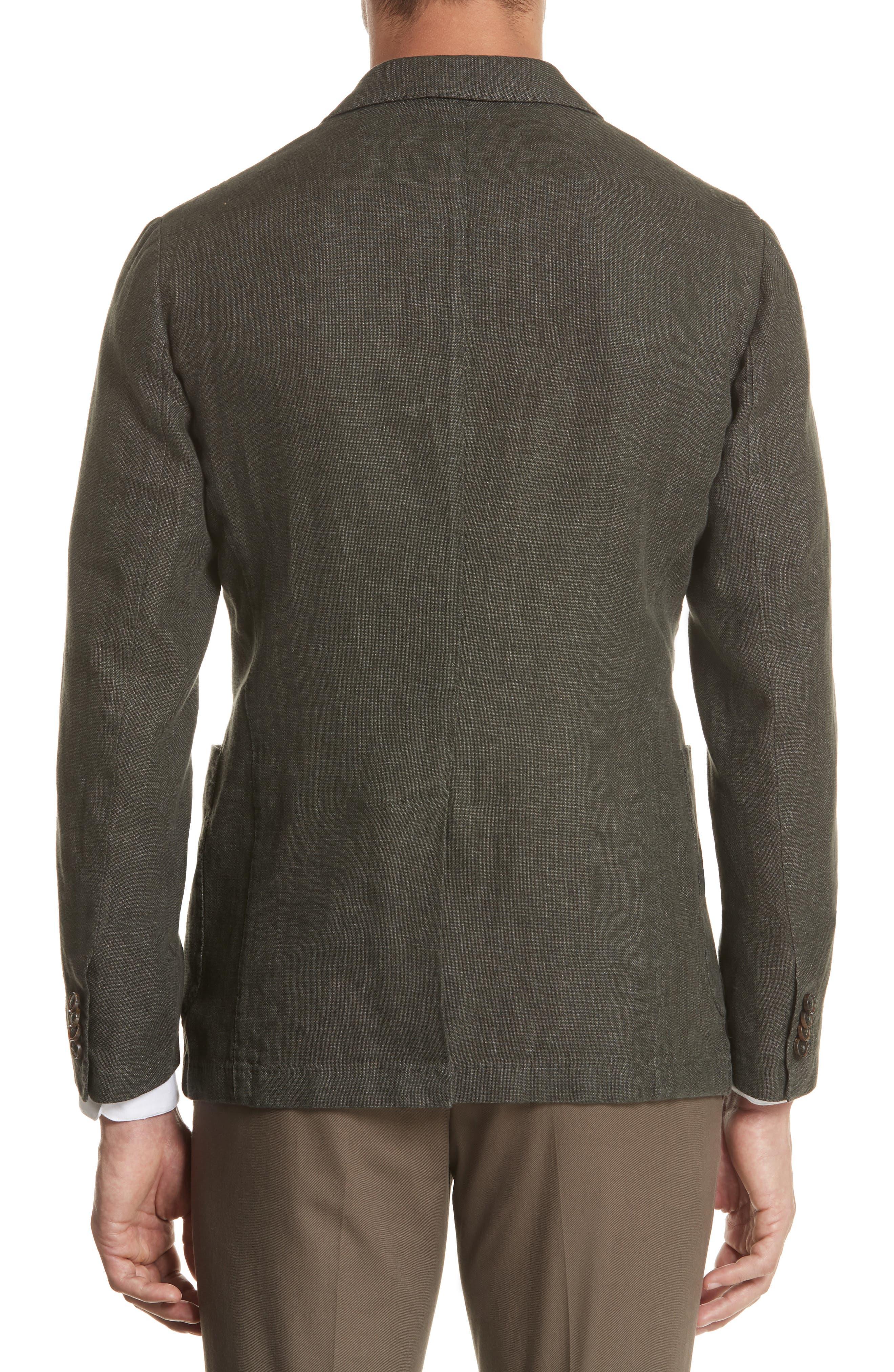 Trim Fit Linen & Cotton Blazer,                             Alternate thumbnail 2, color,                             Green