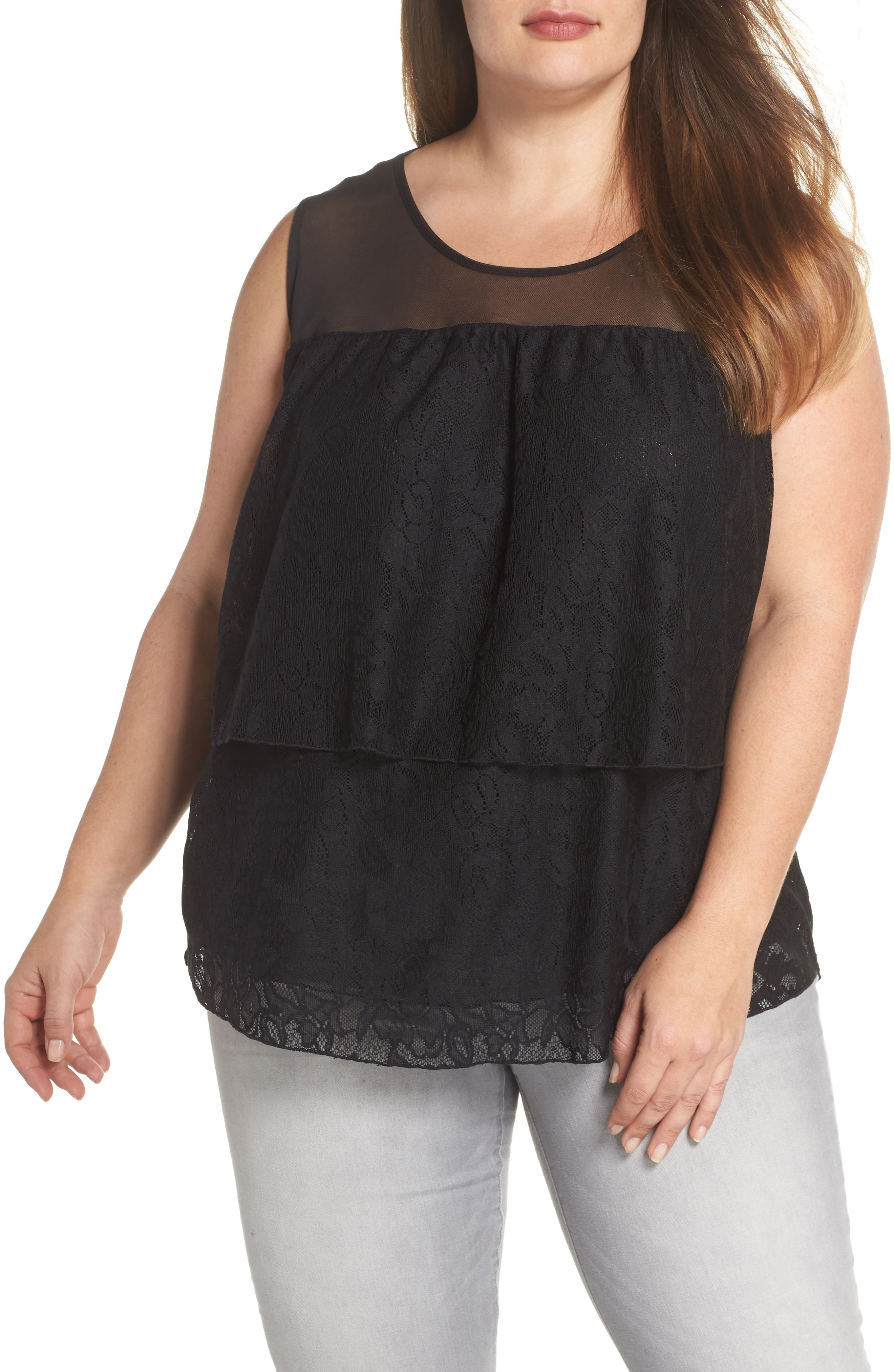 Lace Tier Top,                         Main,                         color, Black