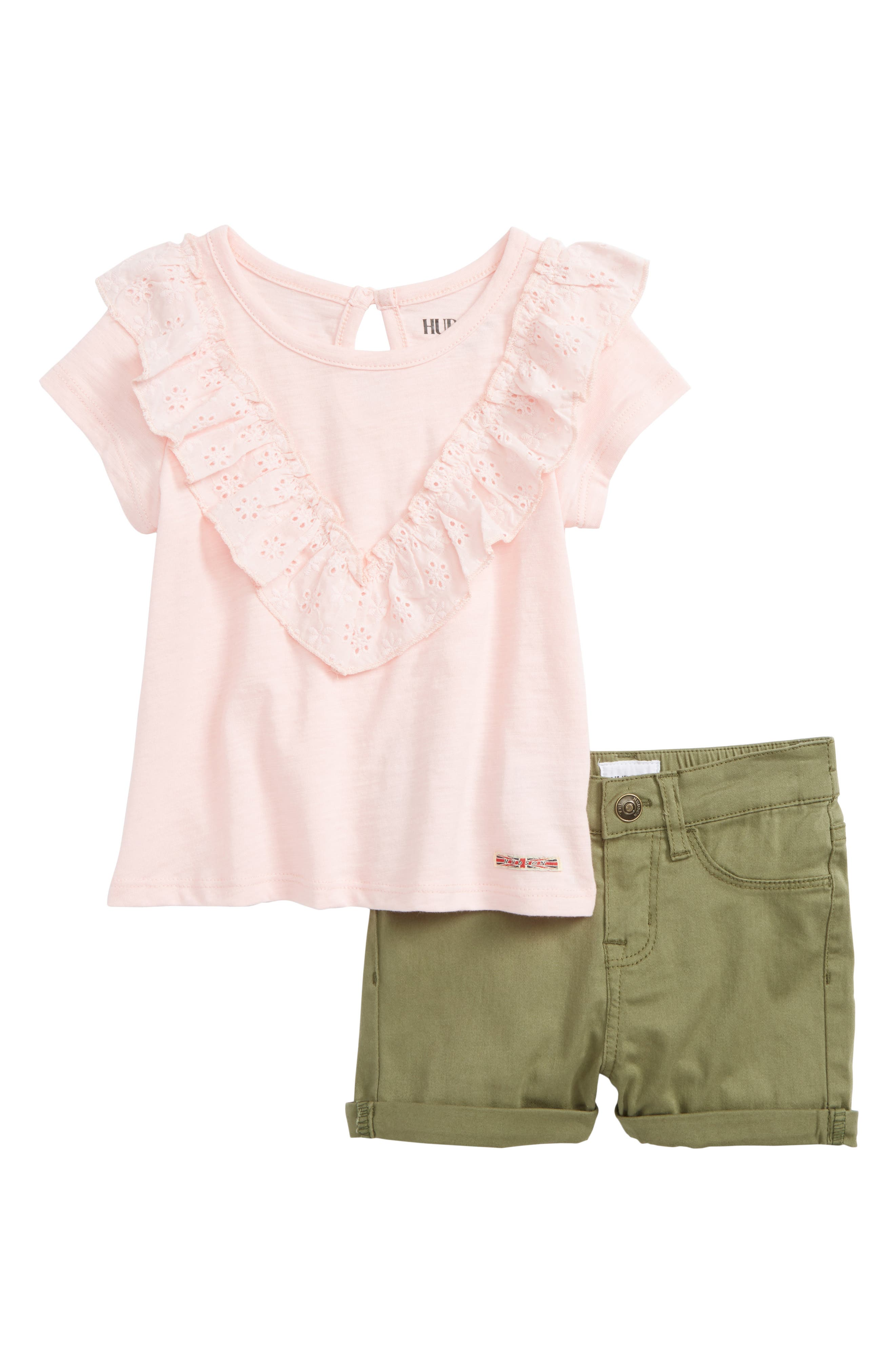 Eyelet Tee & Twill Shorts Set,                             Main thumbnail 1, color,                             Rose Blush
