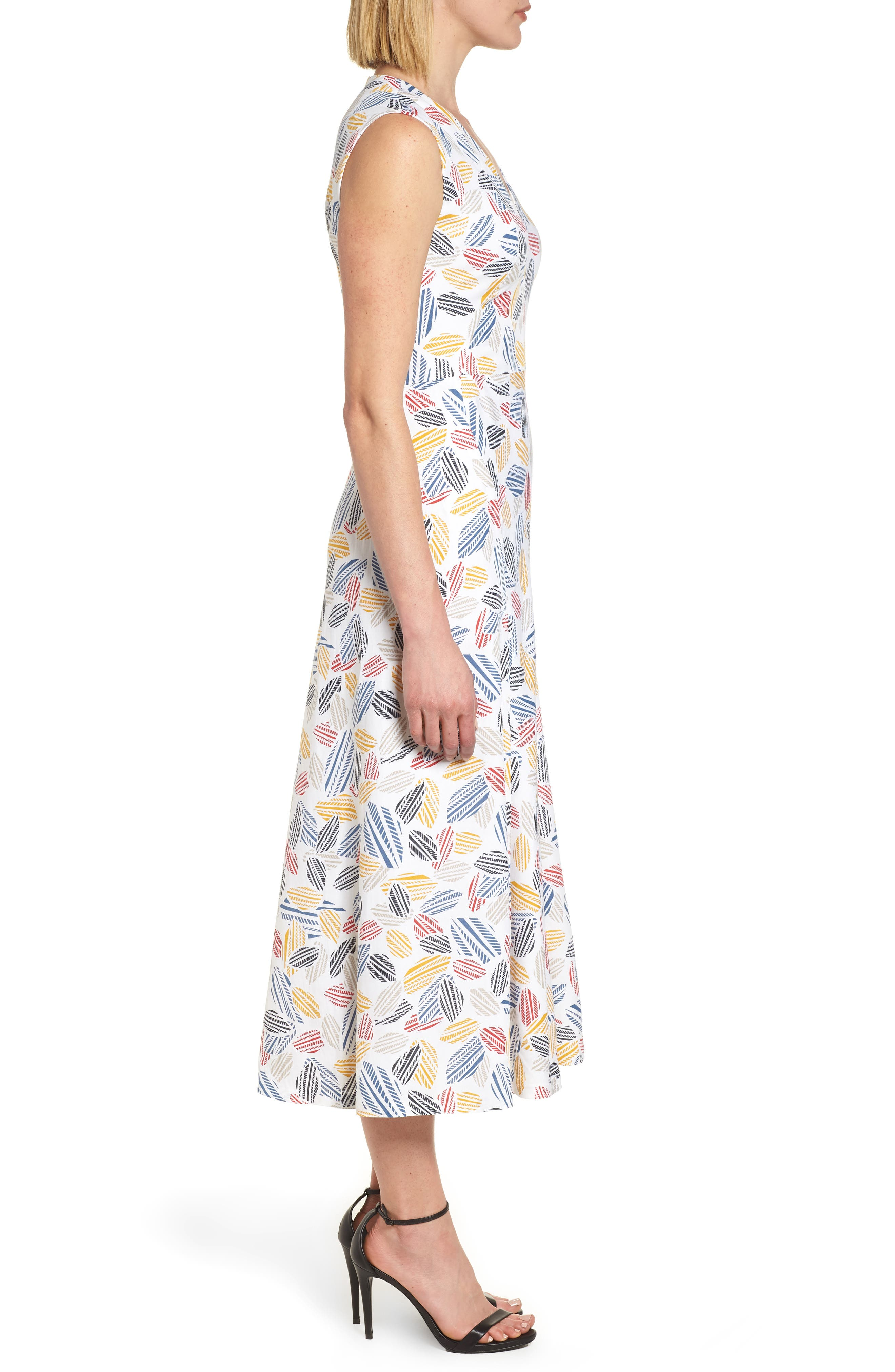 Print Midi Dress,                             Alternate thumbnail 3, color,                             Optic White/ Tomato Combo