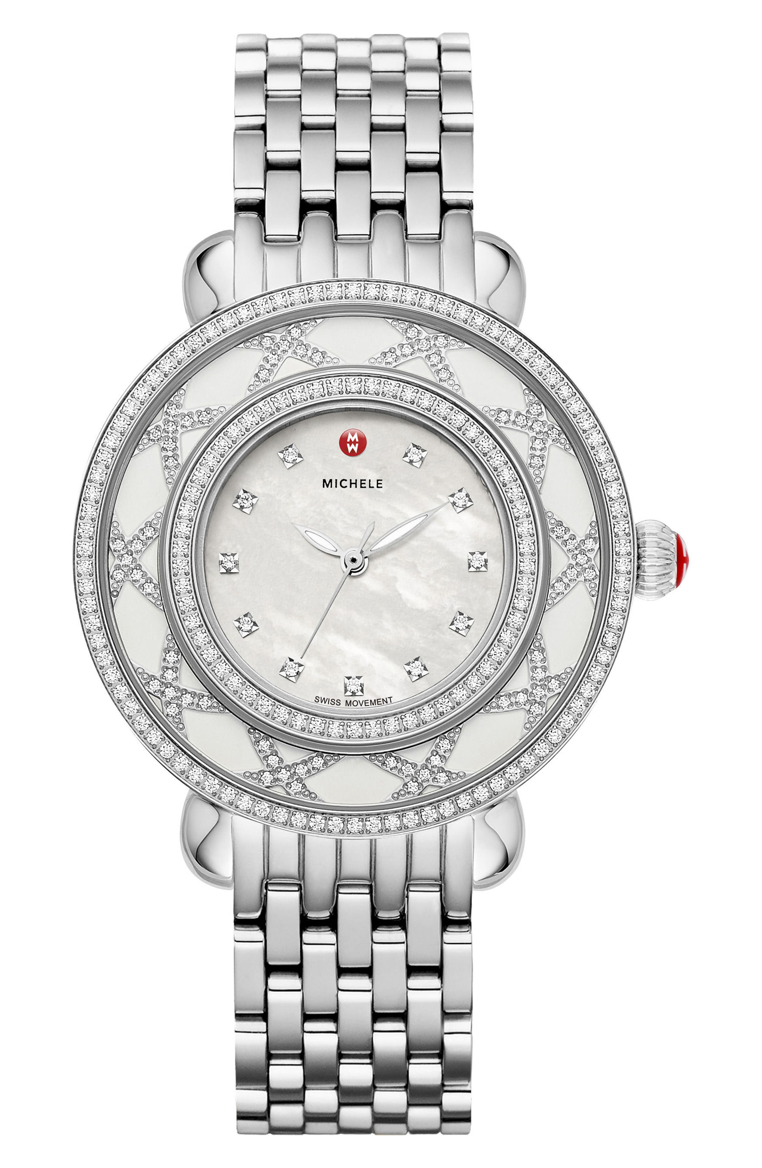 Cloette Diamond & Mother-of-Pearl Watch Head, 28mm,                             Main thumbnail 1, color,                             Silver/ Mother Of Pearl/ White