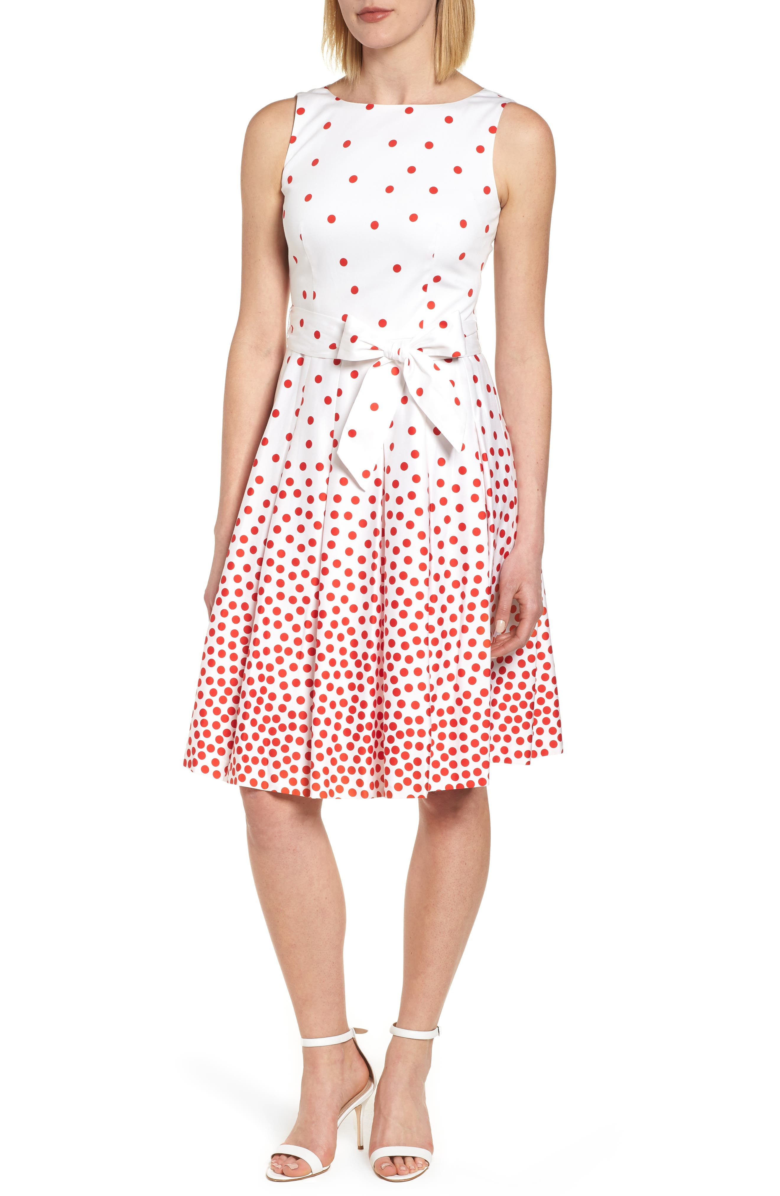 Scattered Dot Stretch Cotton Dress,                             Main thumbnail 1, color,                             Optic White/ Tomato