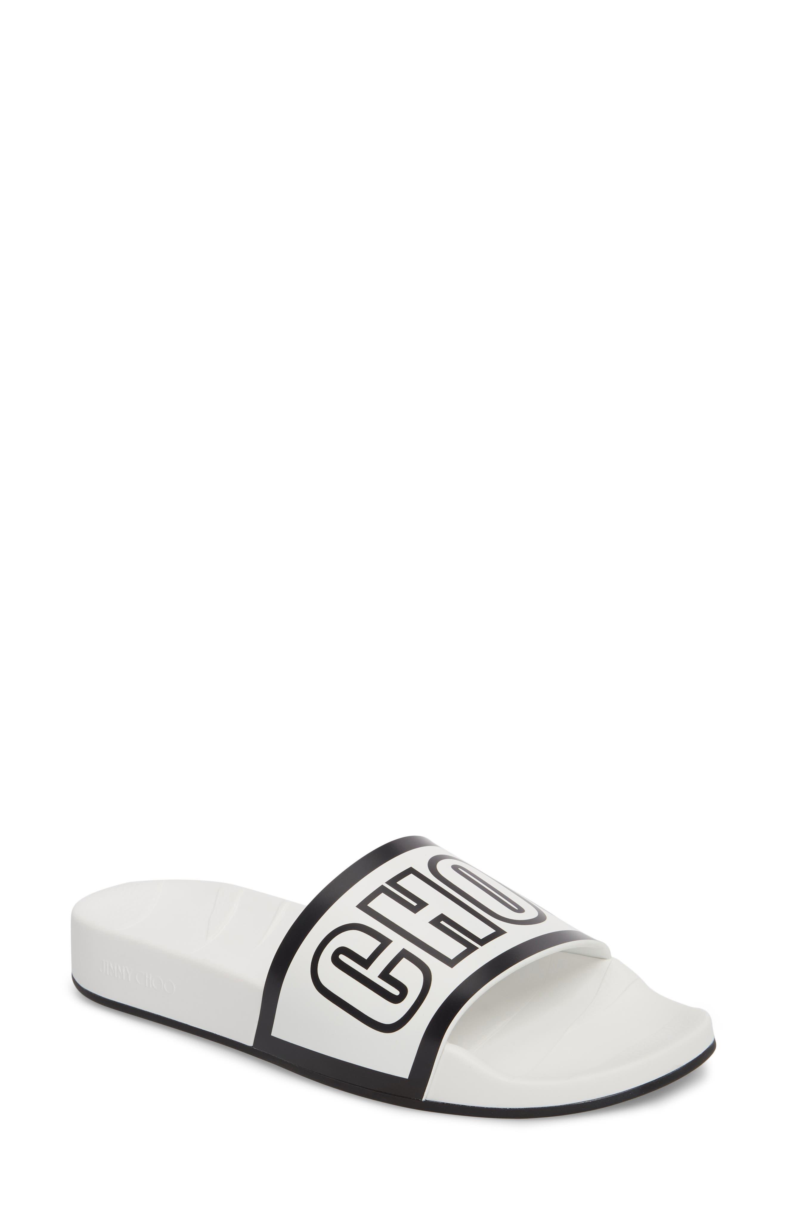 Rey Logo Slide Sandal,                         Main,                         color, Chalk/ Black