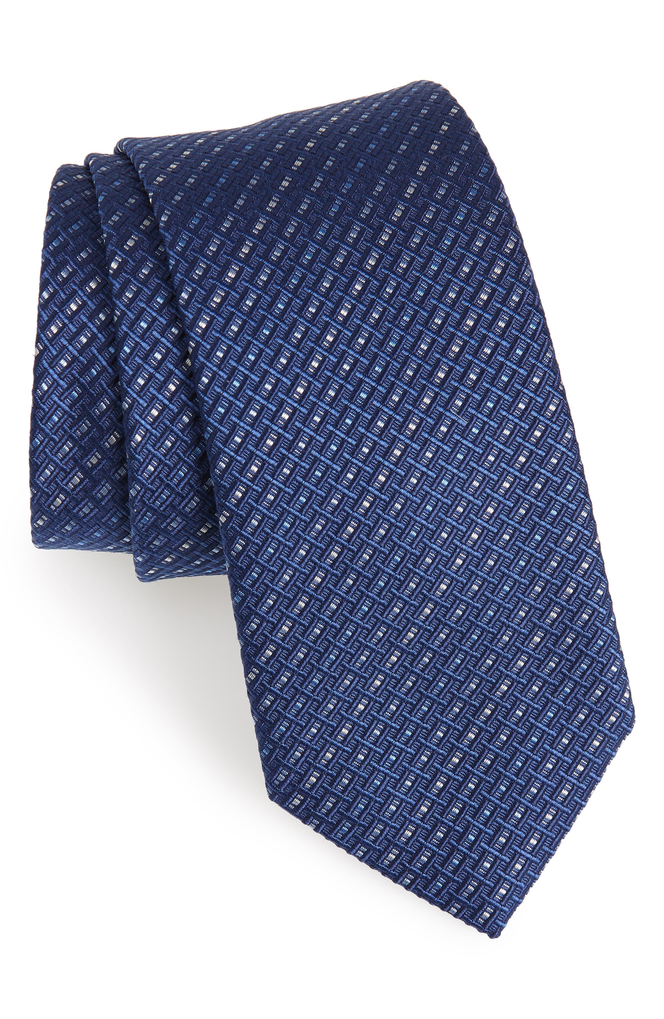 Este Solid Silk & Cotton Tie,                             Main thumbnail 1, color,                             Blue