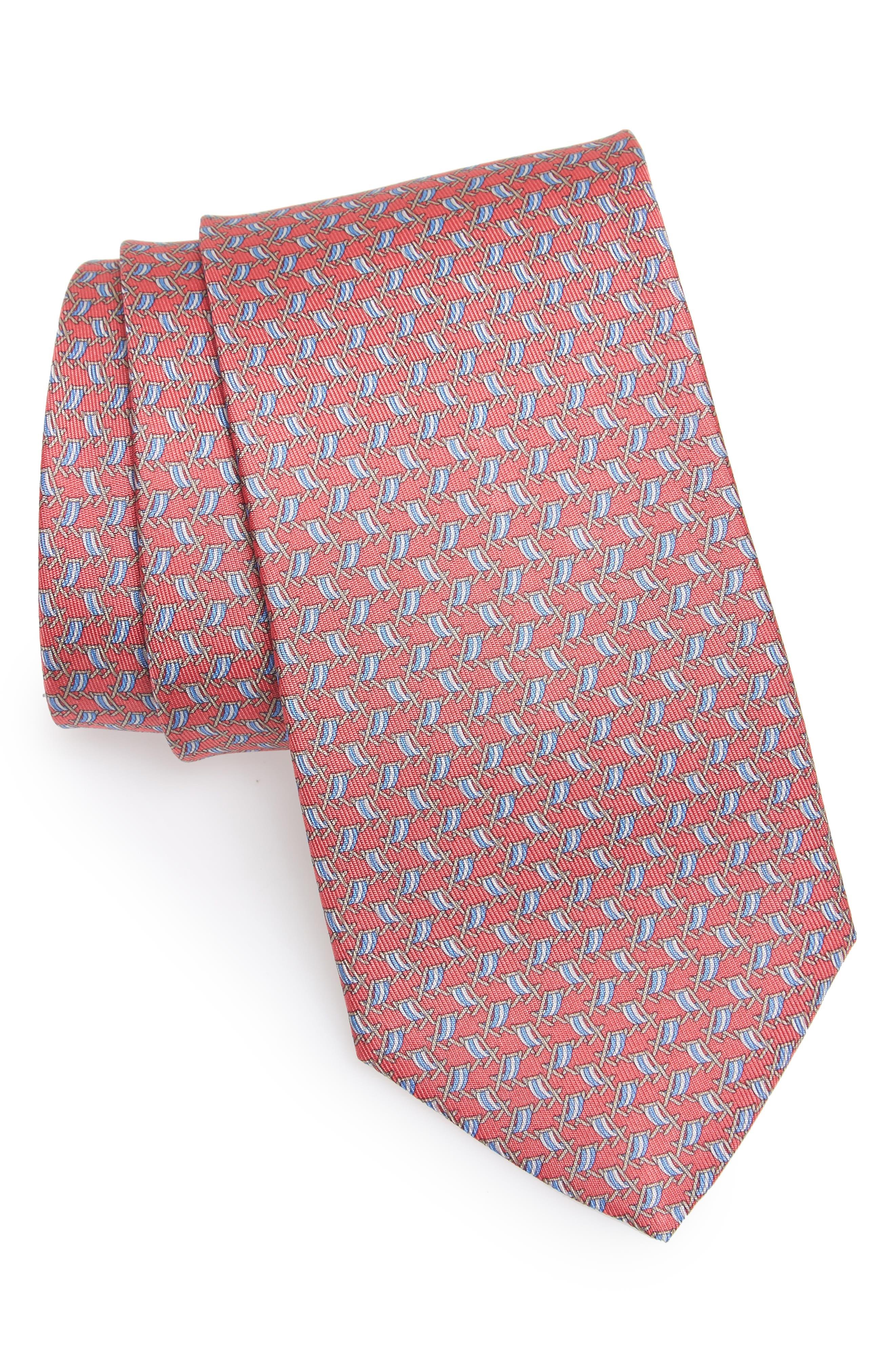 Ersilia Print Silk Tie,                             Main thumbnail 1, color,                             Pink