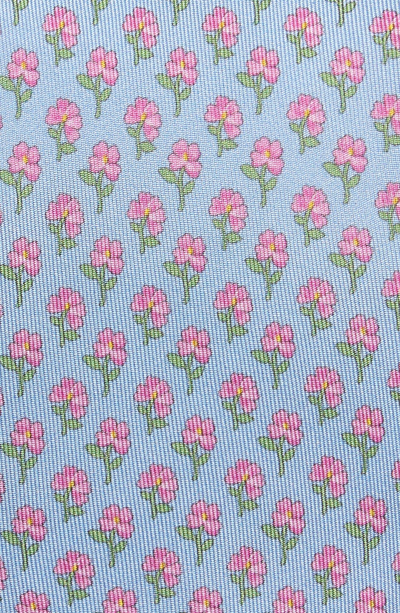 Crescent Floral Print Silk Tie,                             Alternate thumbnail 2, color,                             Airy Blue
