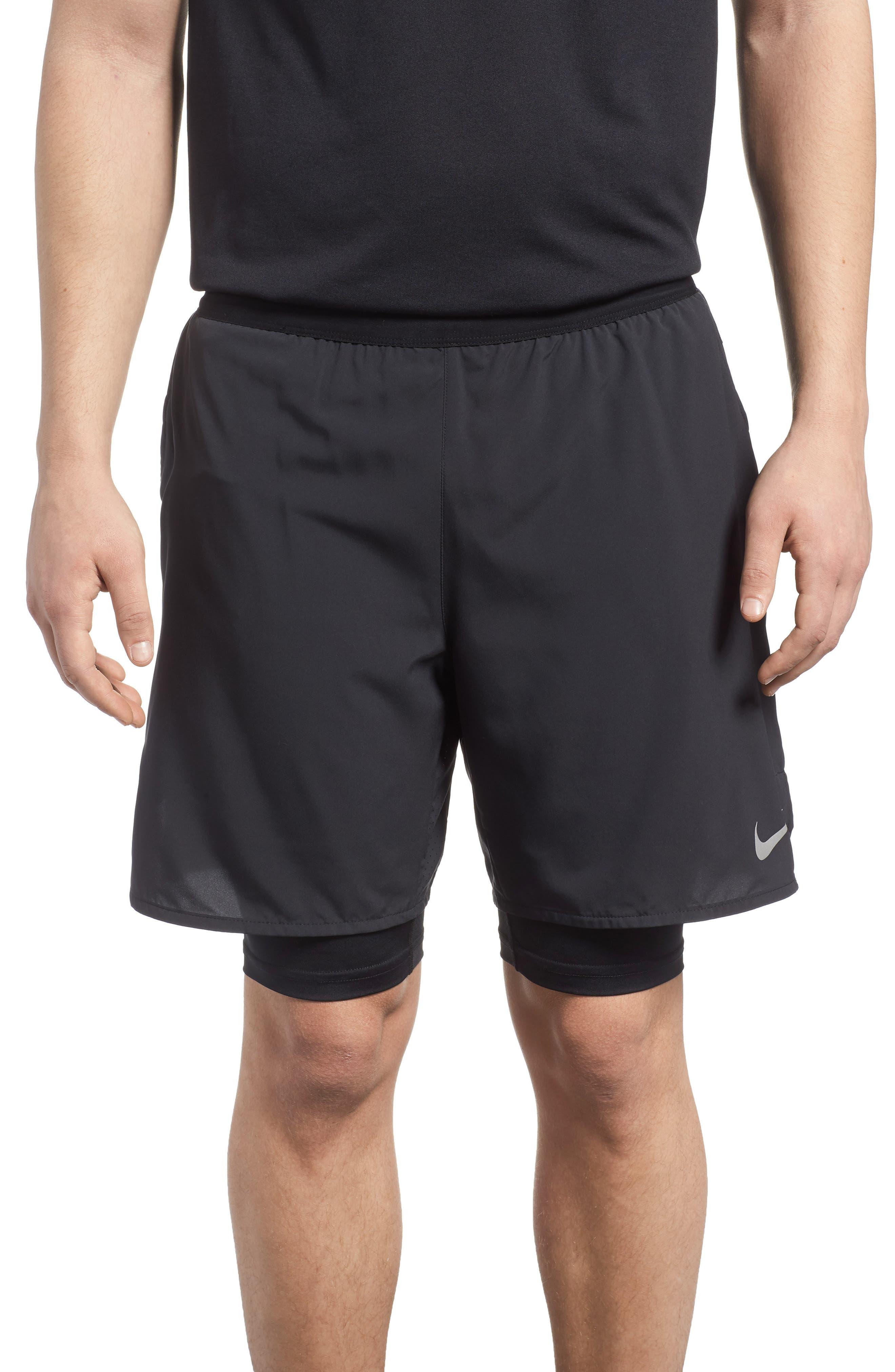 Flex Distance Running Shorts,                             Main thumbnail 1, color,                             Black/ Black