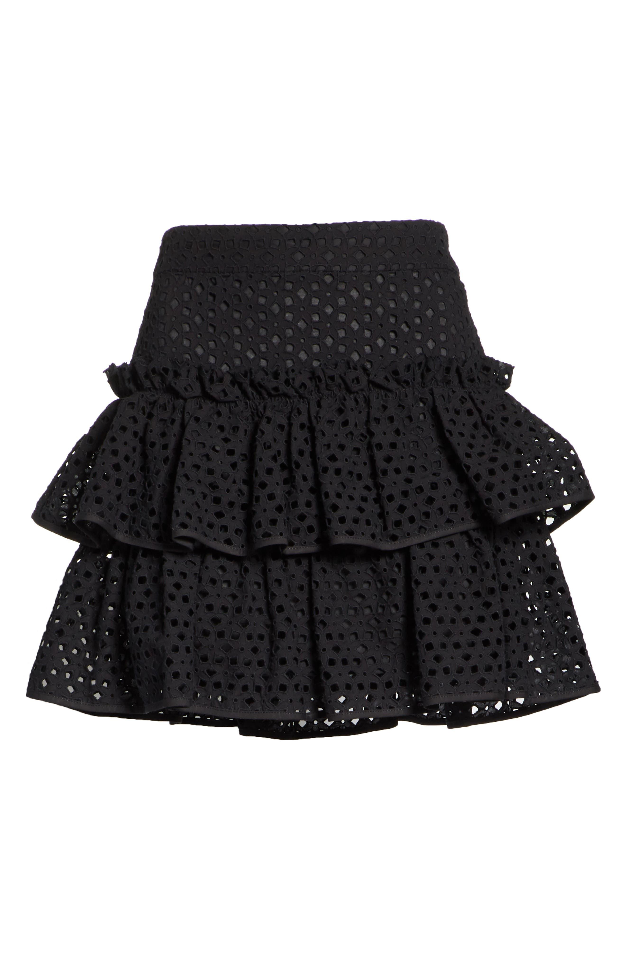 Floral Ruffle Tiered Cotton Eyelet Miniskirt,                             Alternate thumbnail 6, color,                             Black