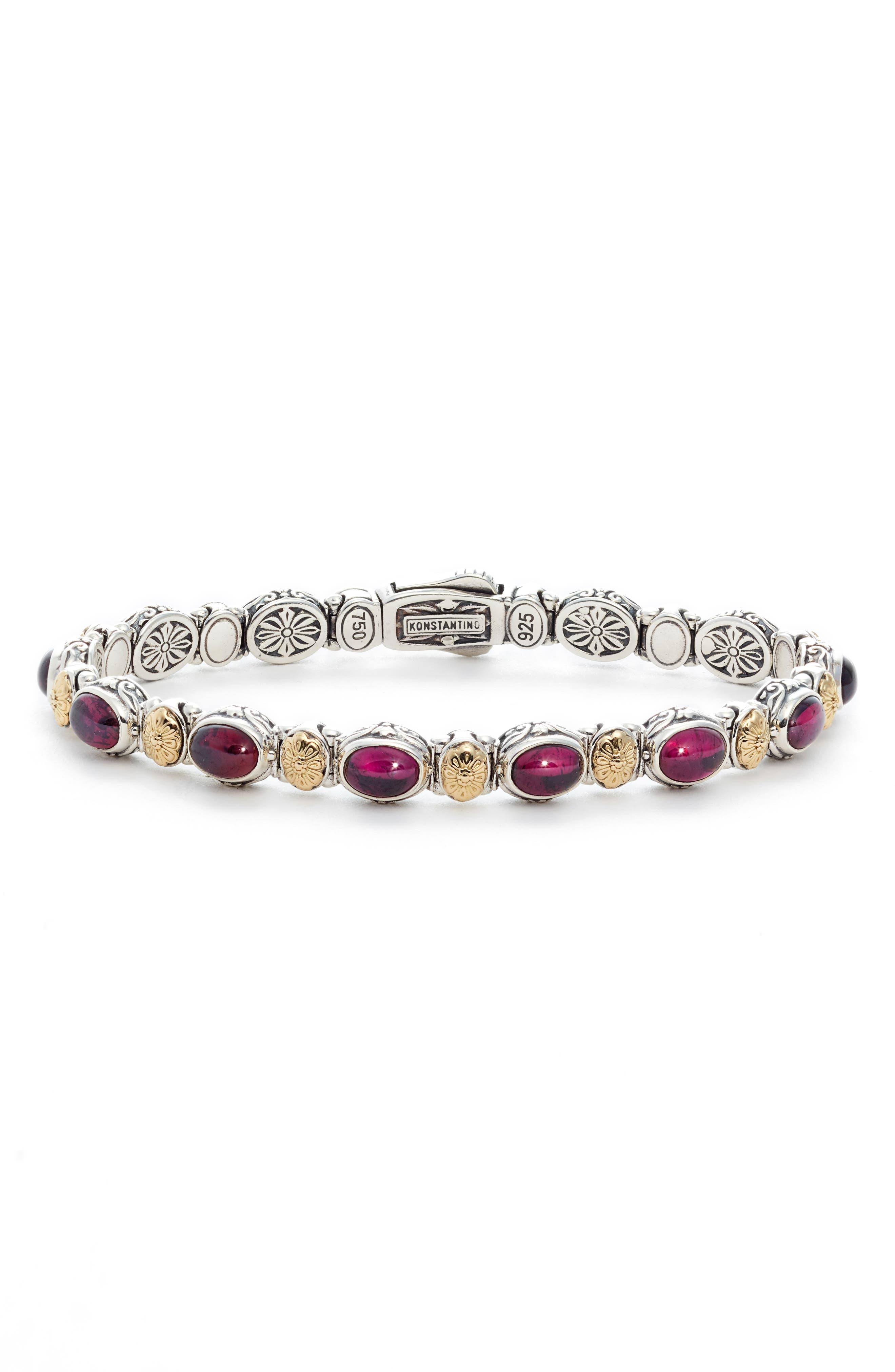 Silver Rhodolite Garnet Bracelet,                             Main thumbnail 1, color,                             Red/ Silver/ Gold