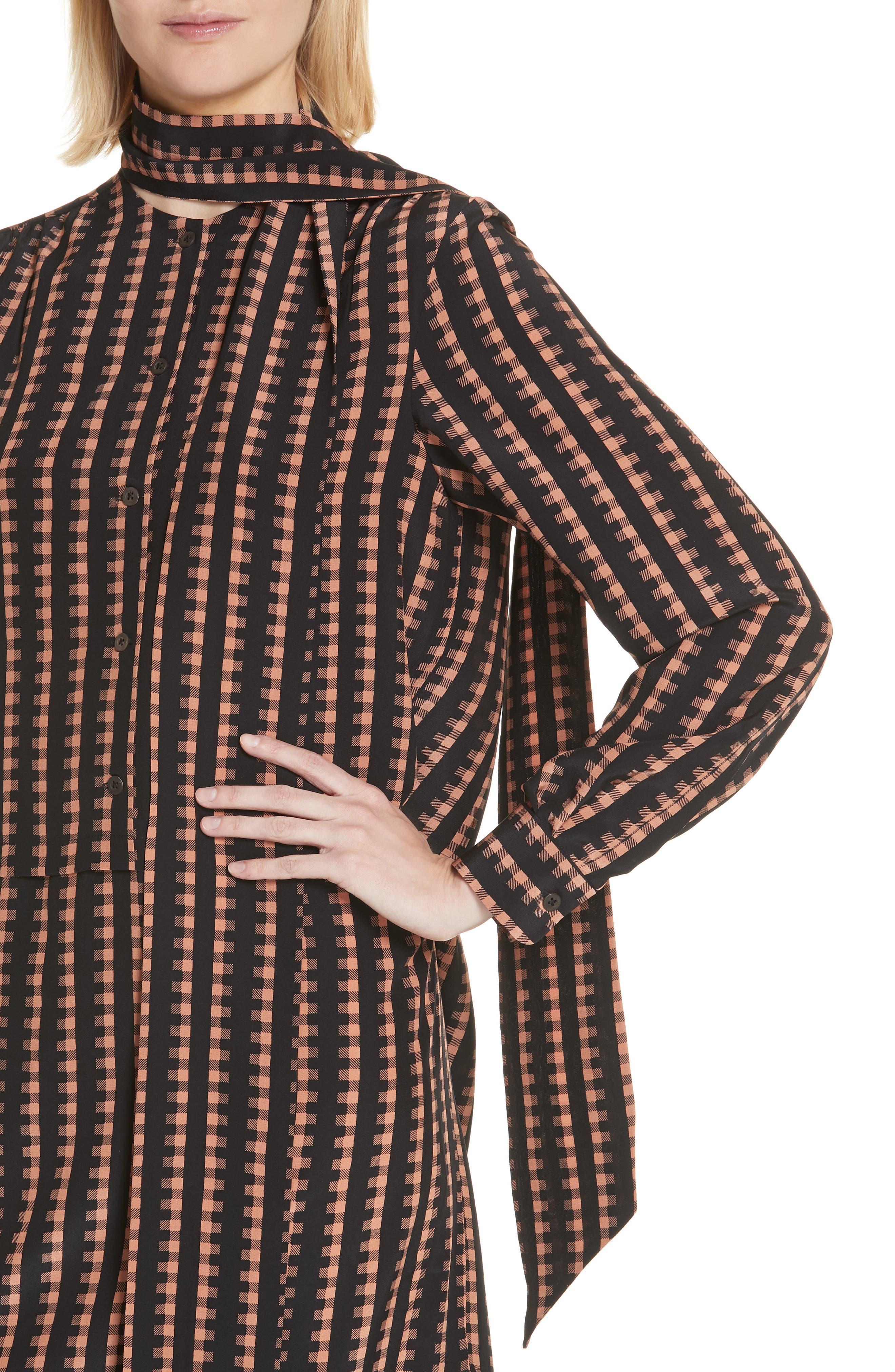 Gingham Stripe Silk Dress,                             Alternate thumbnail 4, color,                             Black