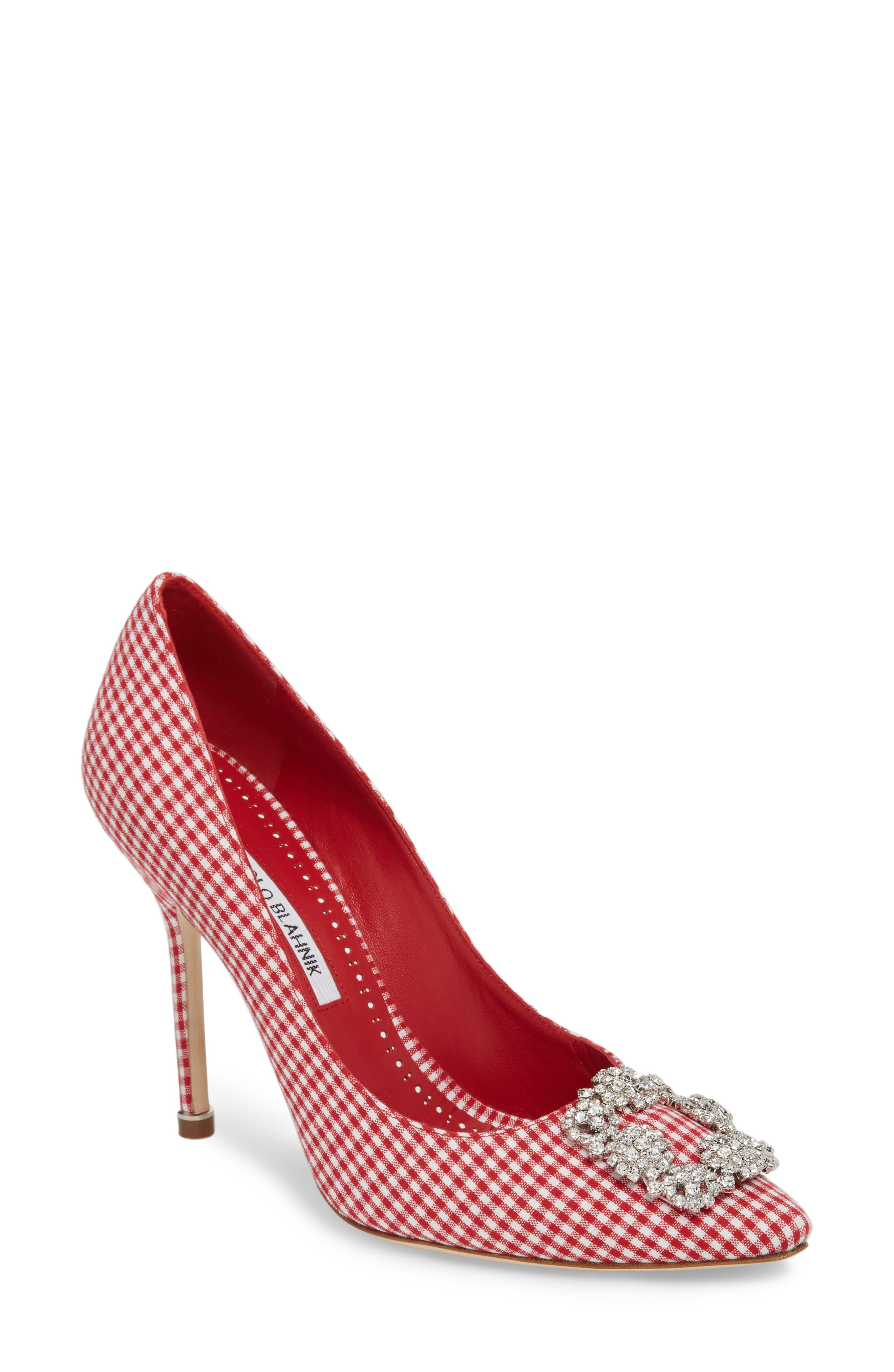 'Hangisi' Ornamented Pump,                             Main thumbnail 1, color,                             Red Gingham