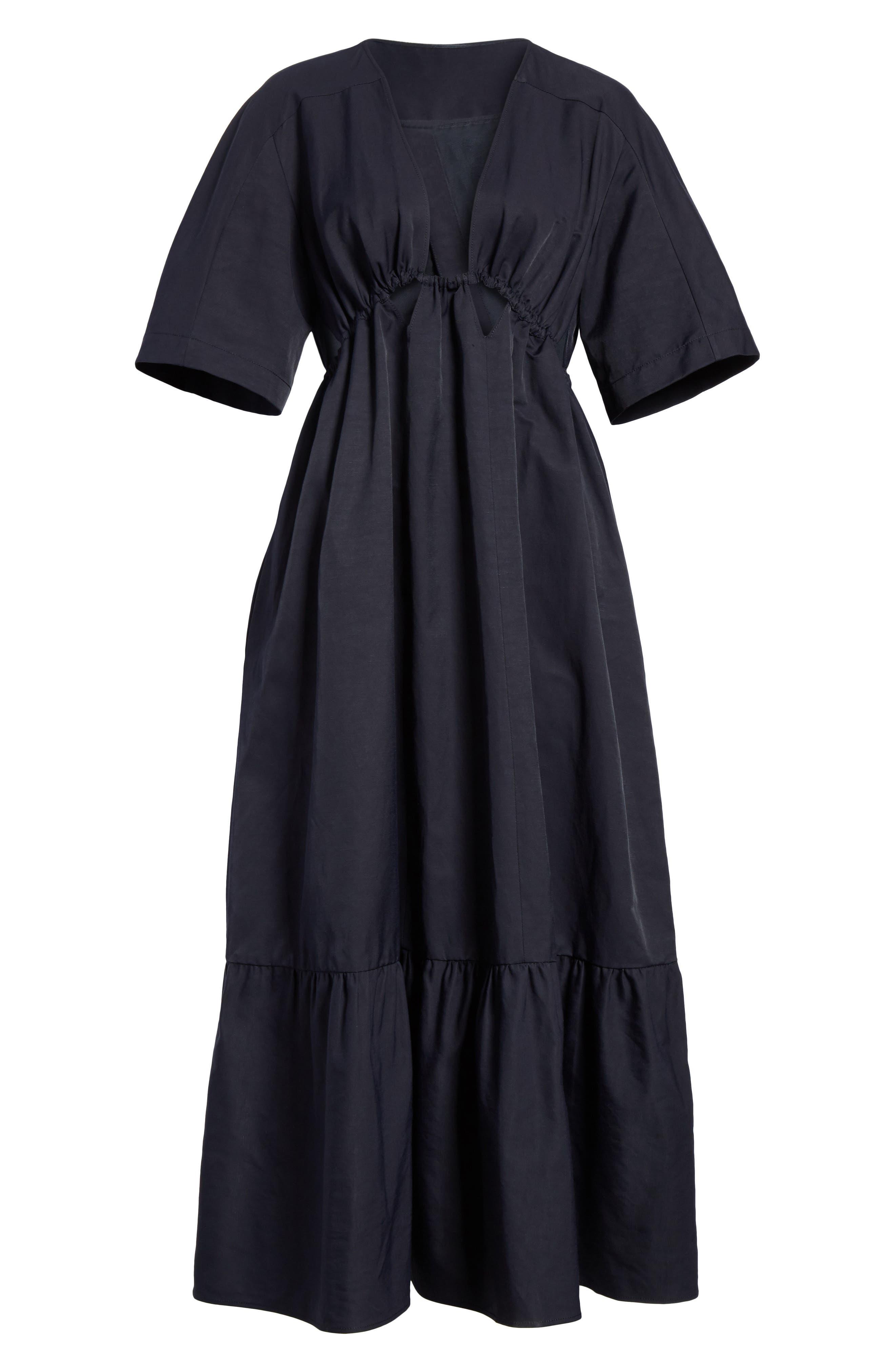 Plunging Cutout Maxi Dress,                             Alternate thumbnail 7, color,                             Ink