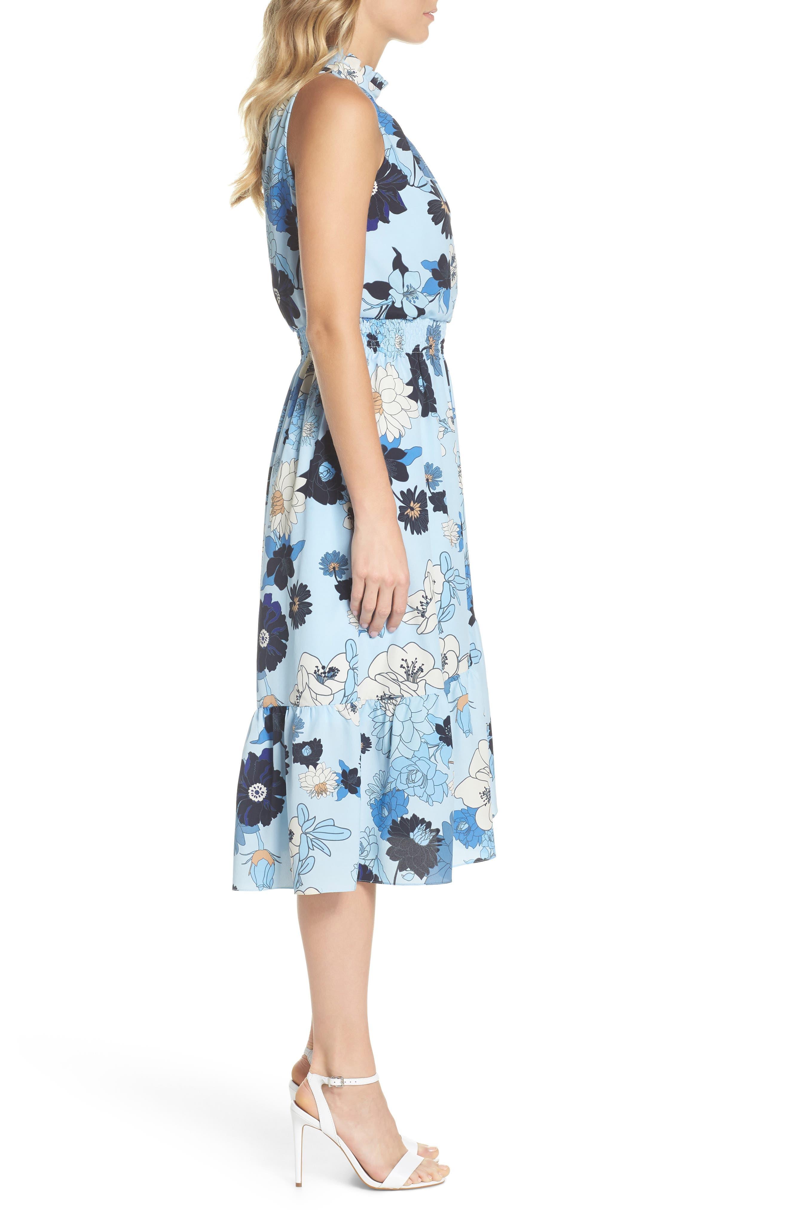Floral Blouson Midi Dress,                             Alternate thumbnail 3, color,                             Light Blue