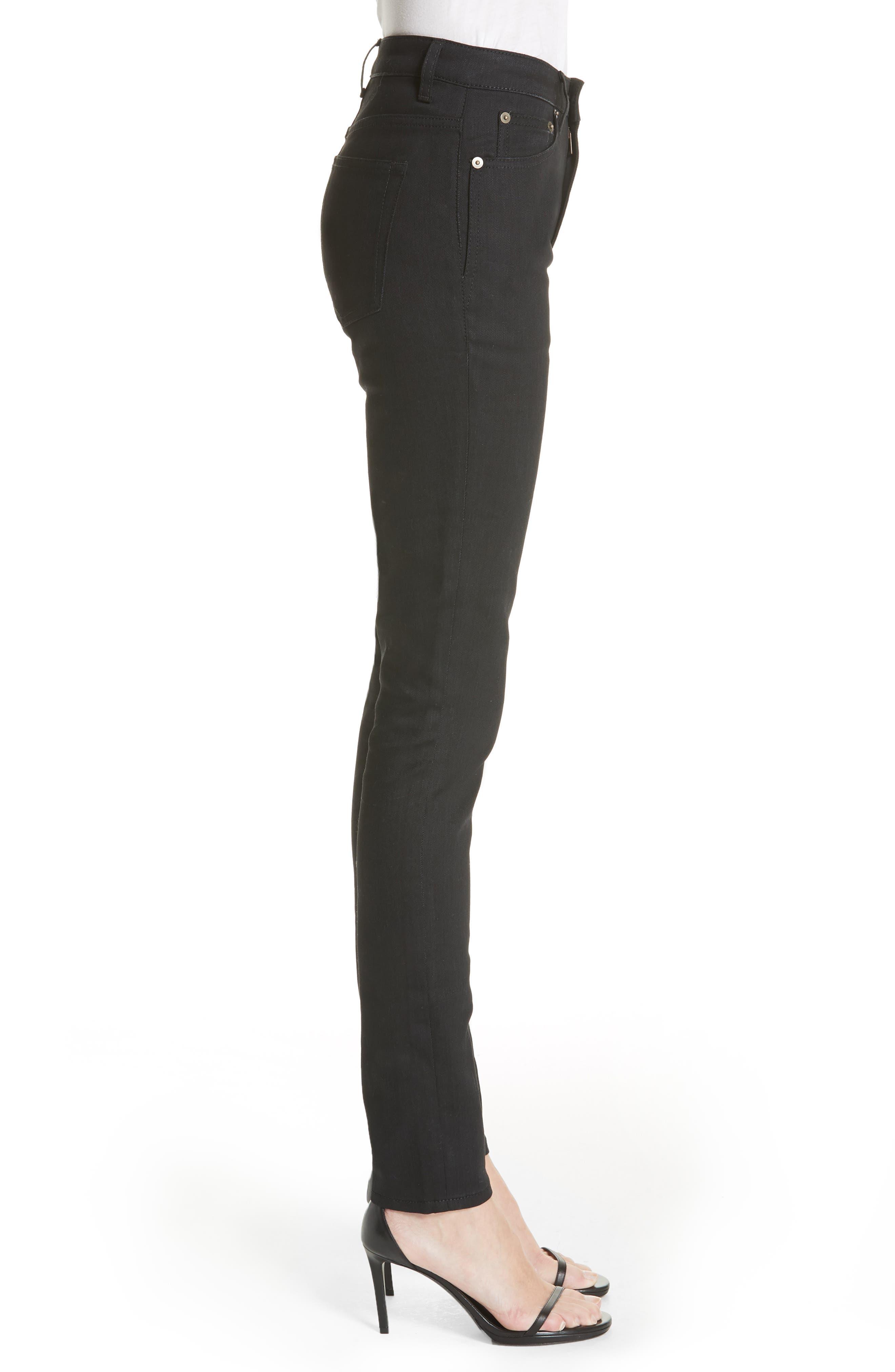 Coated Skinny Jeans,                             Alternate thumbnail 3, color,                             Used Black