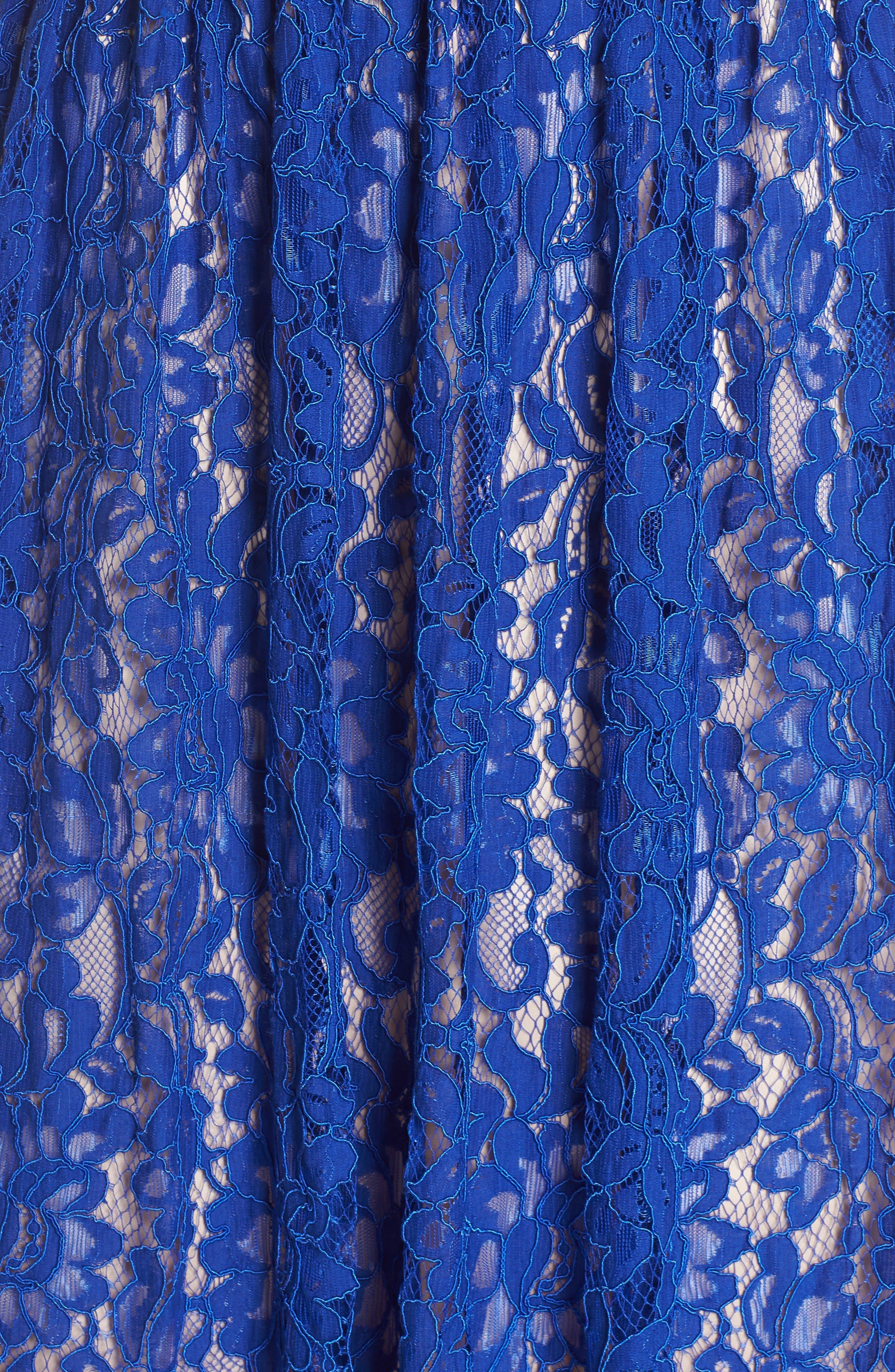 Gathered Lace Midi Dress,                             Alternate thumbnail 6, color,                             Cobalt