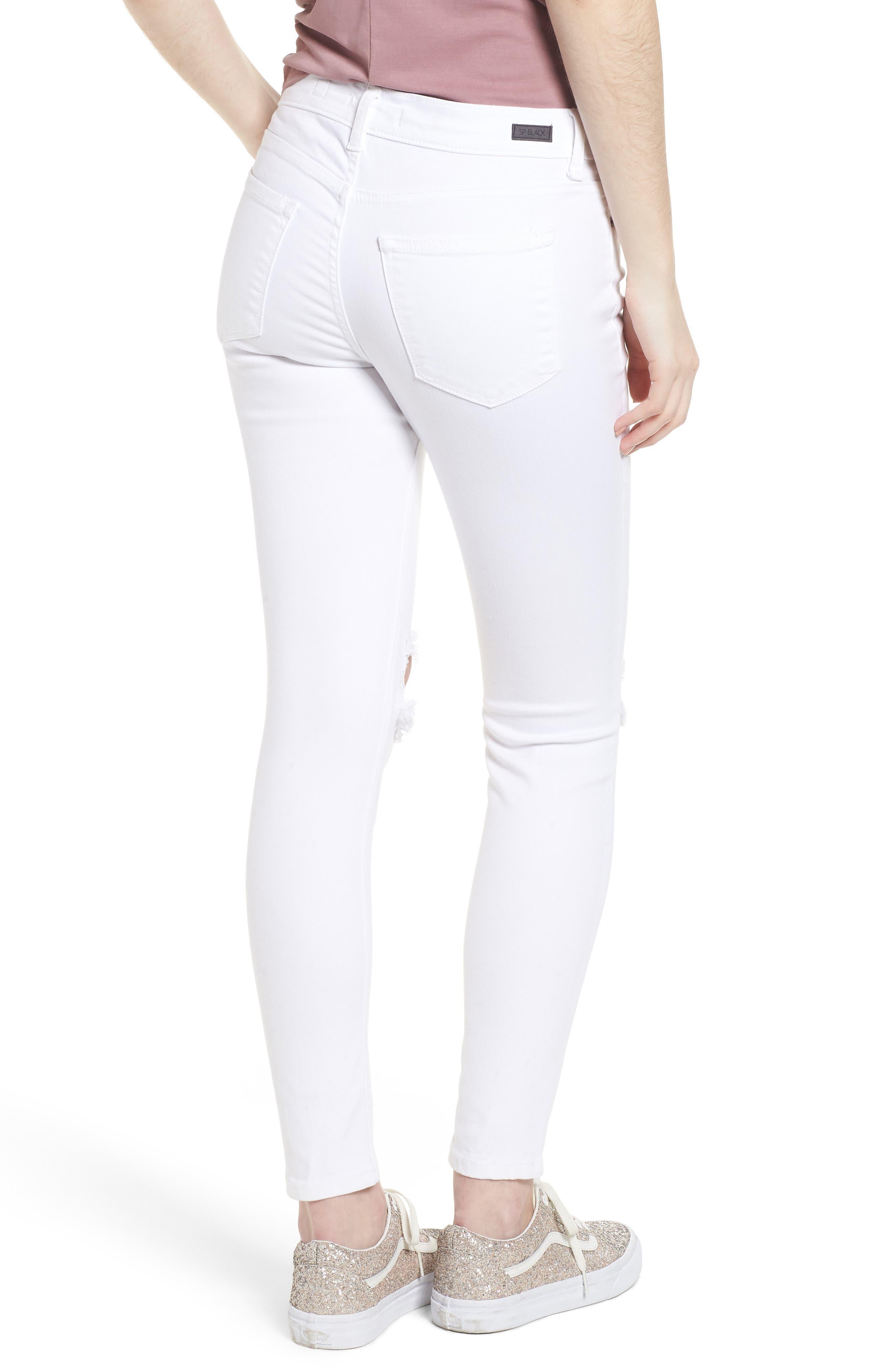 Open Knee Skinny Jeans,                             Alternate thumbnail 2, color,                             White