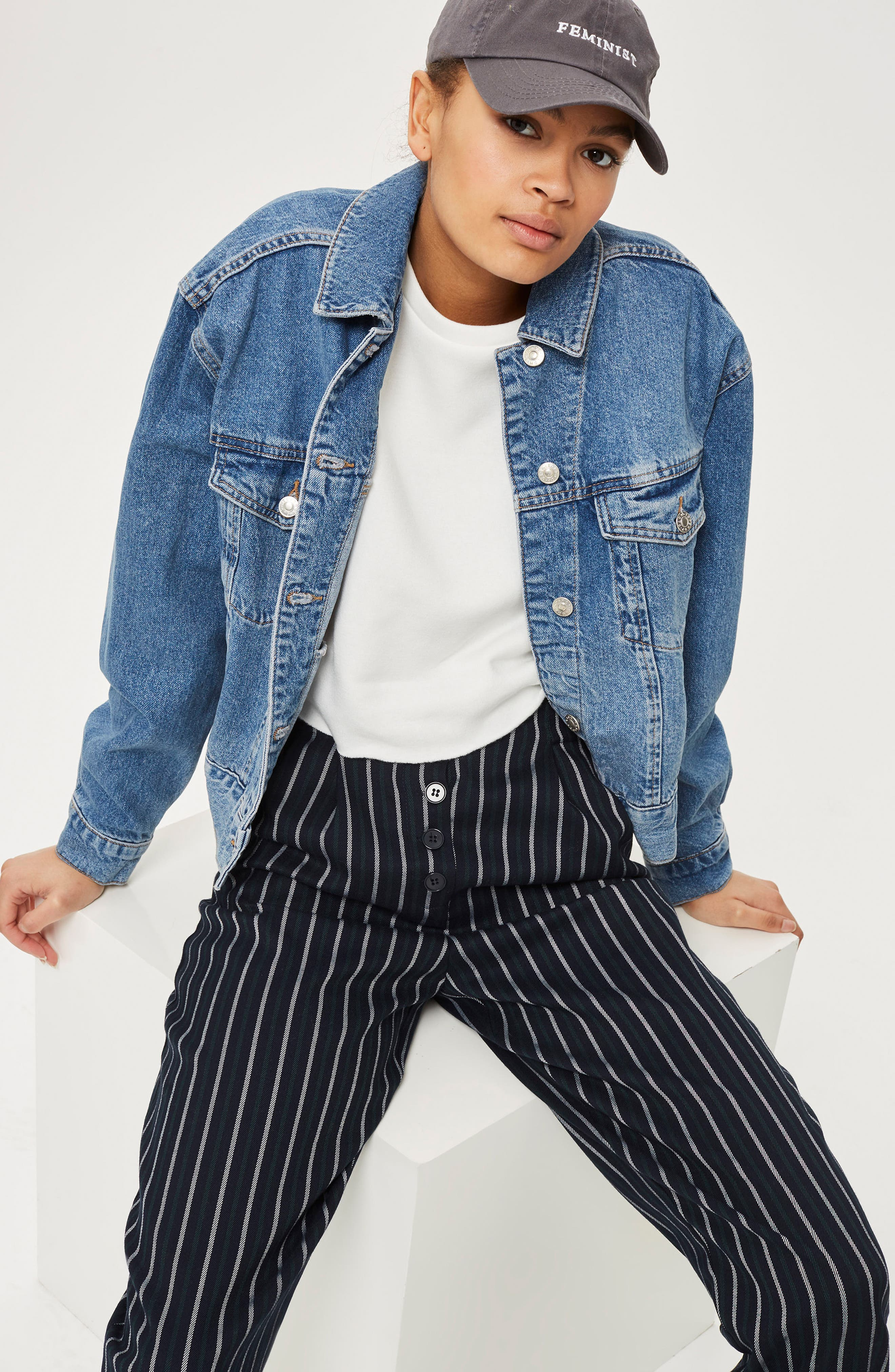 Button Front Stripe Tapered Trousers,                             Alternate thumbnail 2, color,