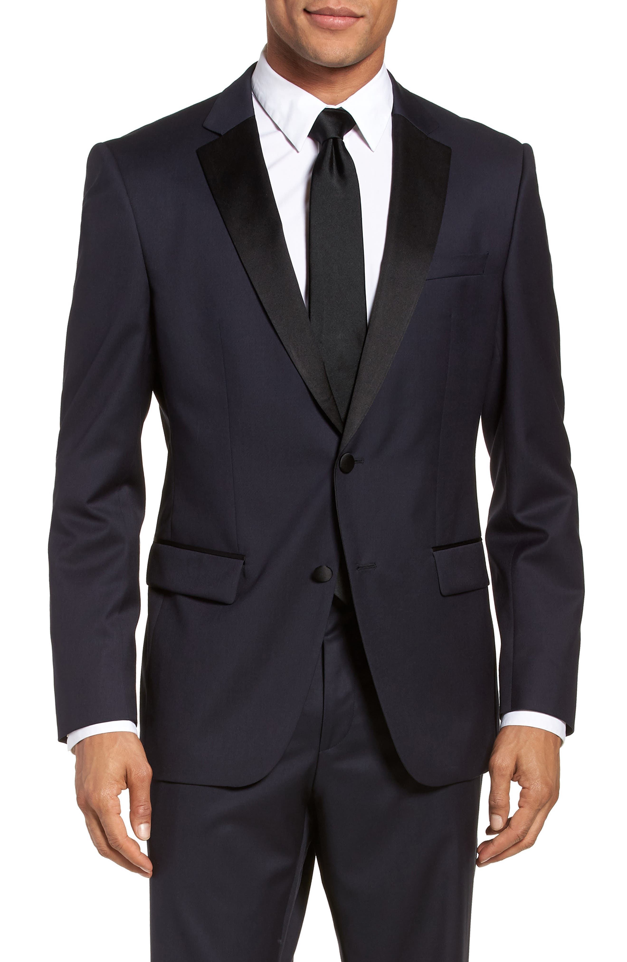Hence CYL Trim Fit Wool Dinner Jacket,                             Main thumbnail 1, color,                             Dark Blue