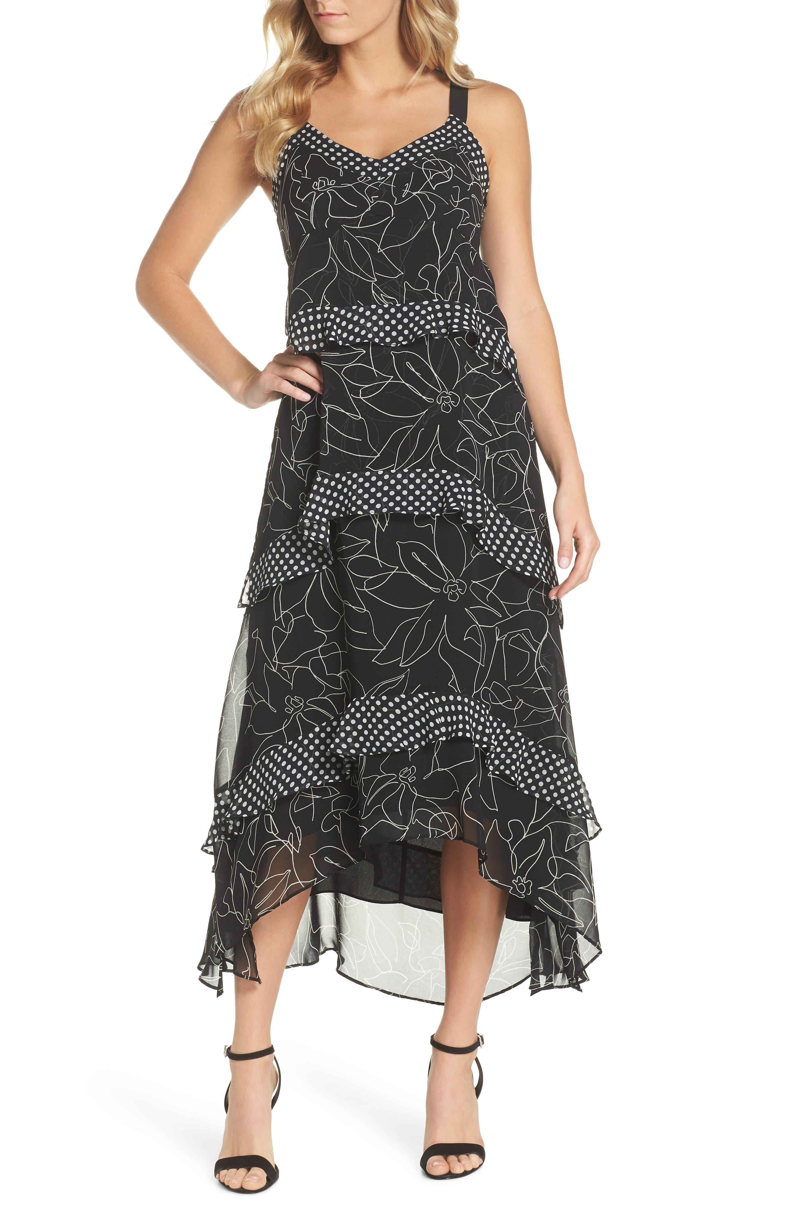Polka Dot & Floral Tiered Maxi Dress,                         Main,                         color, Black Ivory