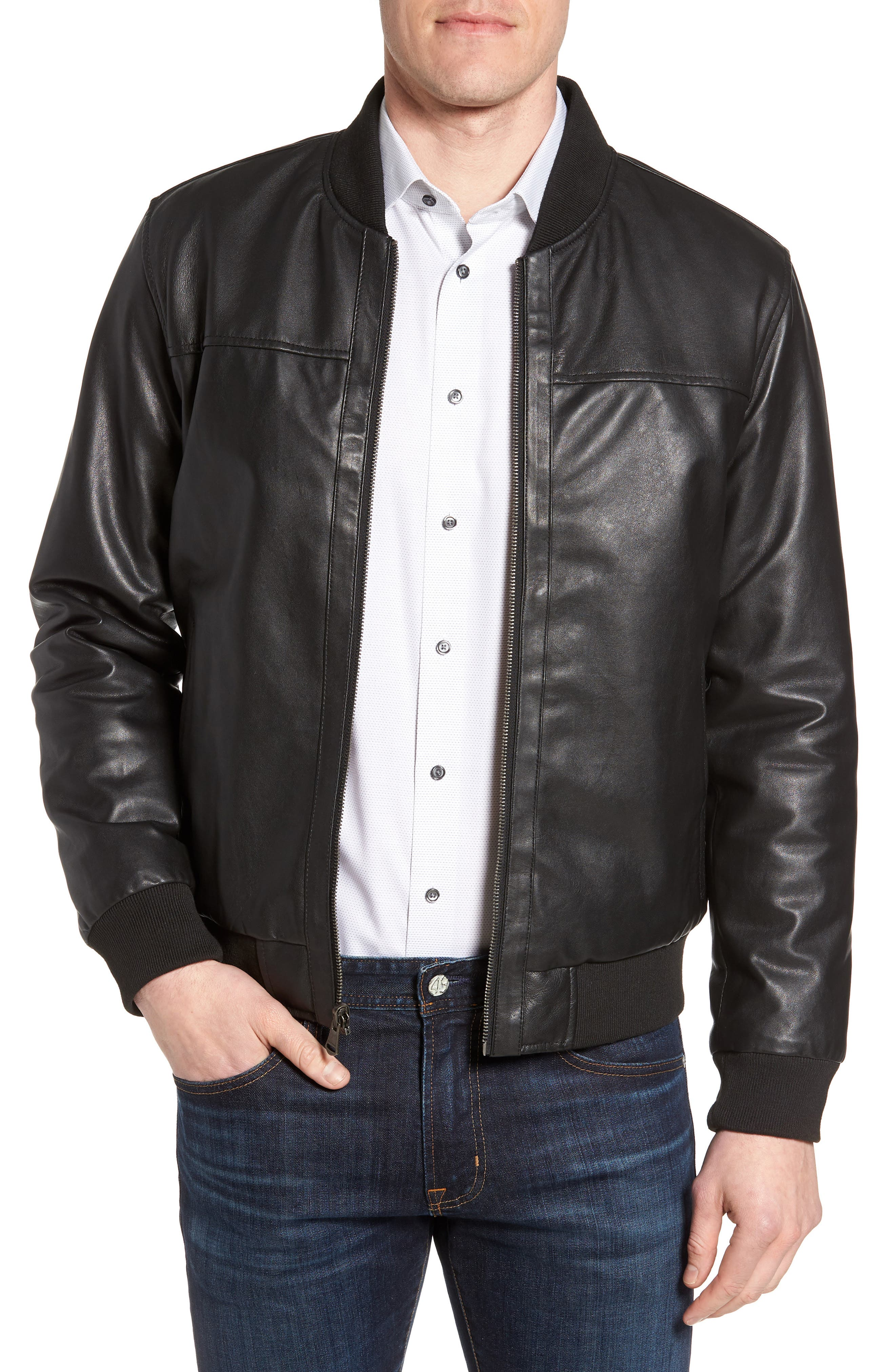 Reversible Leather Jacket,                         Main,                         color, Black/ Navy