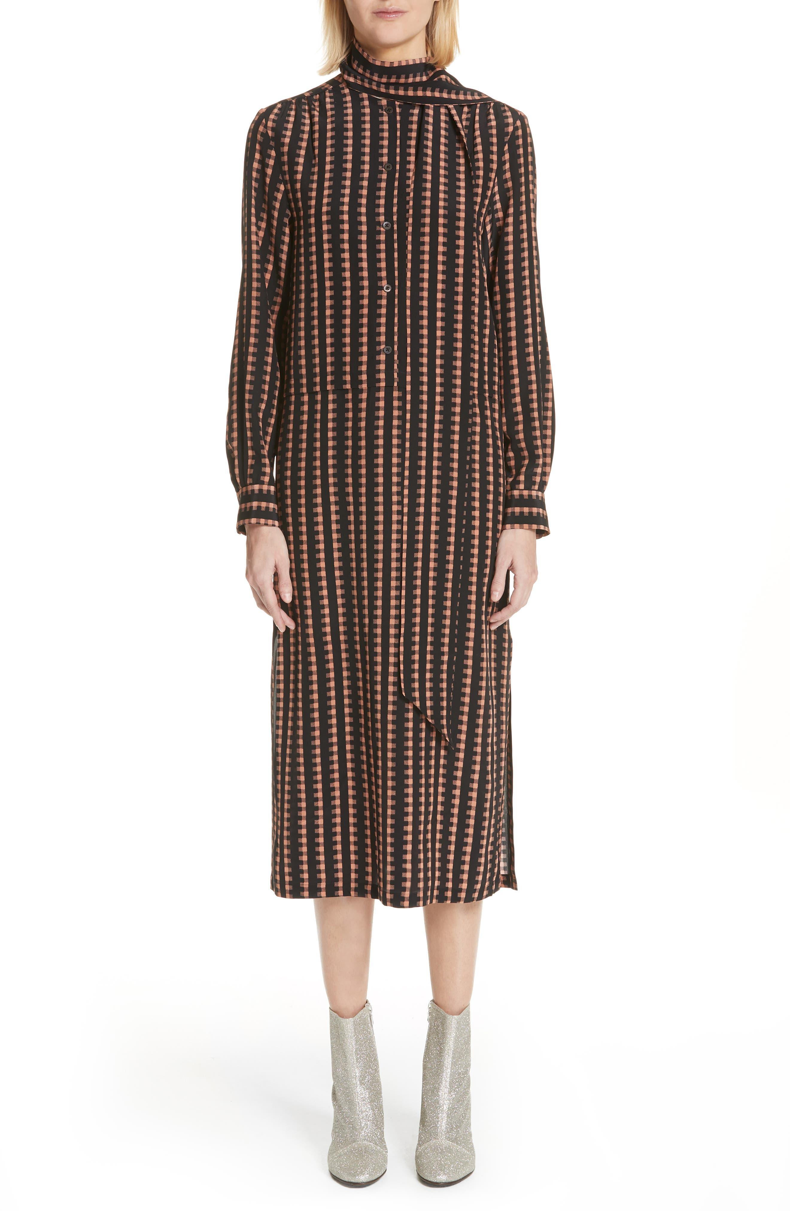Gingham Stripe Silk Dress,                             Main thumbnail 1, color,                             Black