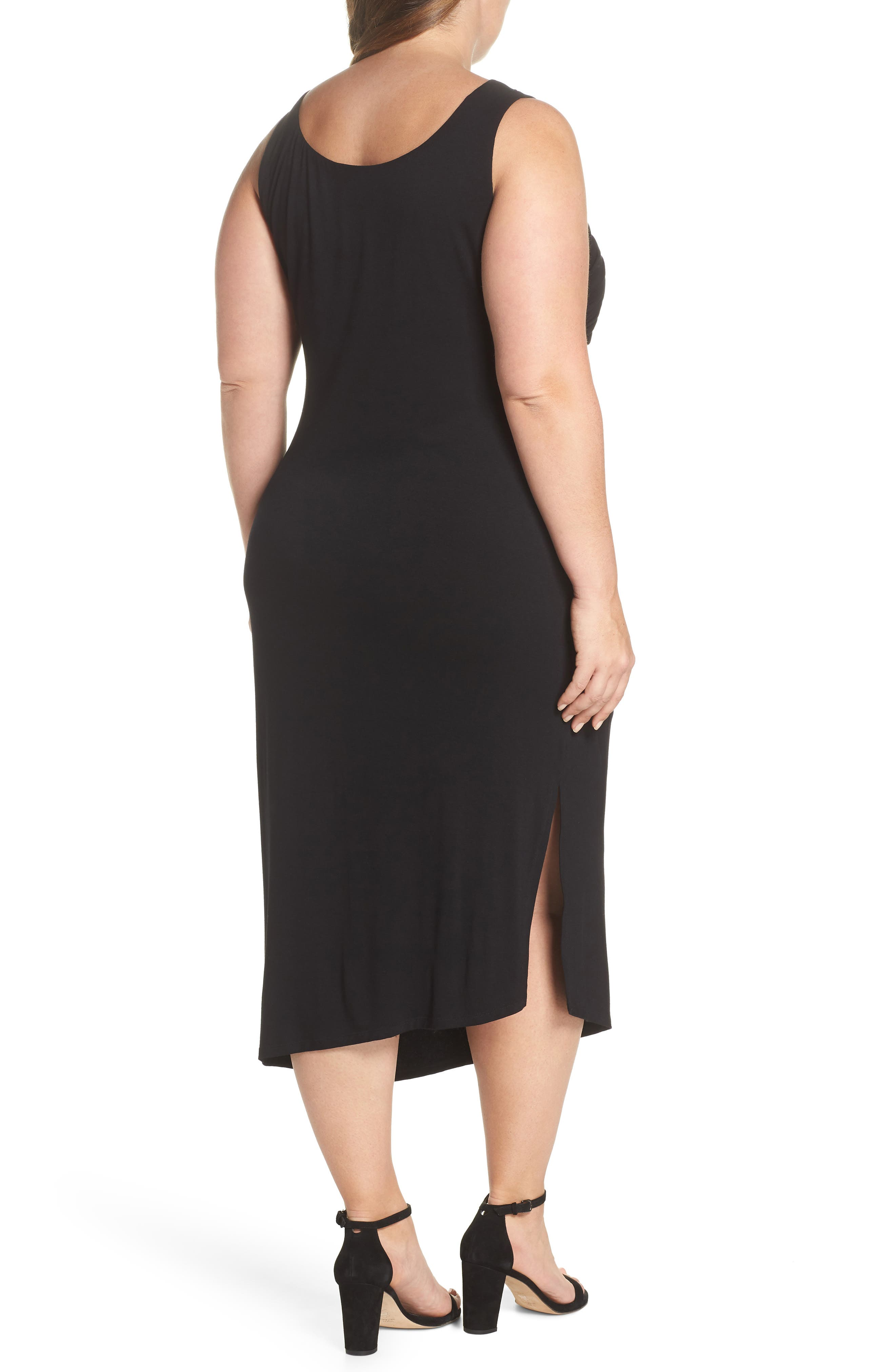 Side Ruched Body-Con Dress,                             Alternate thumbnail 2, color,                             Rich Black