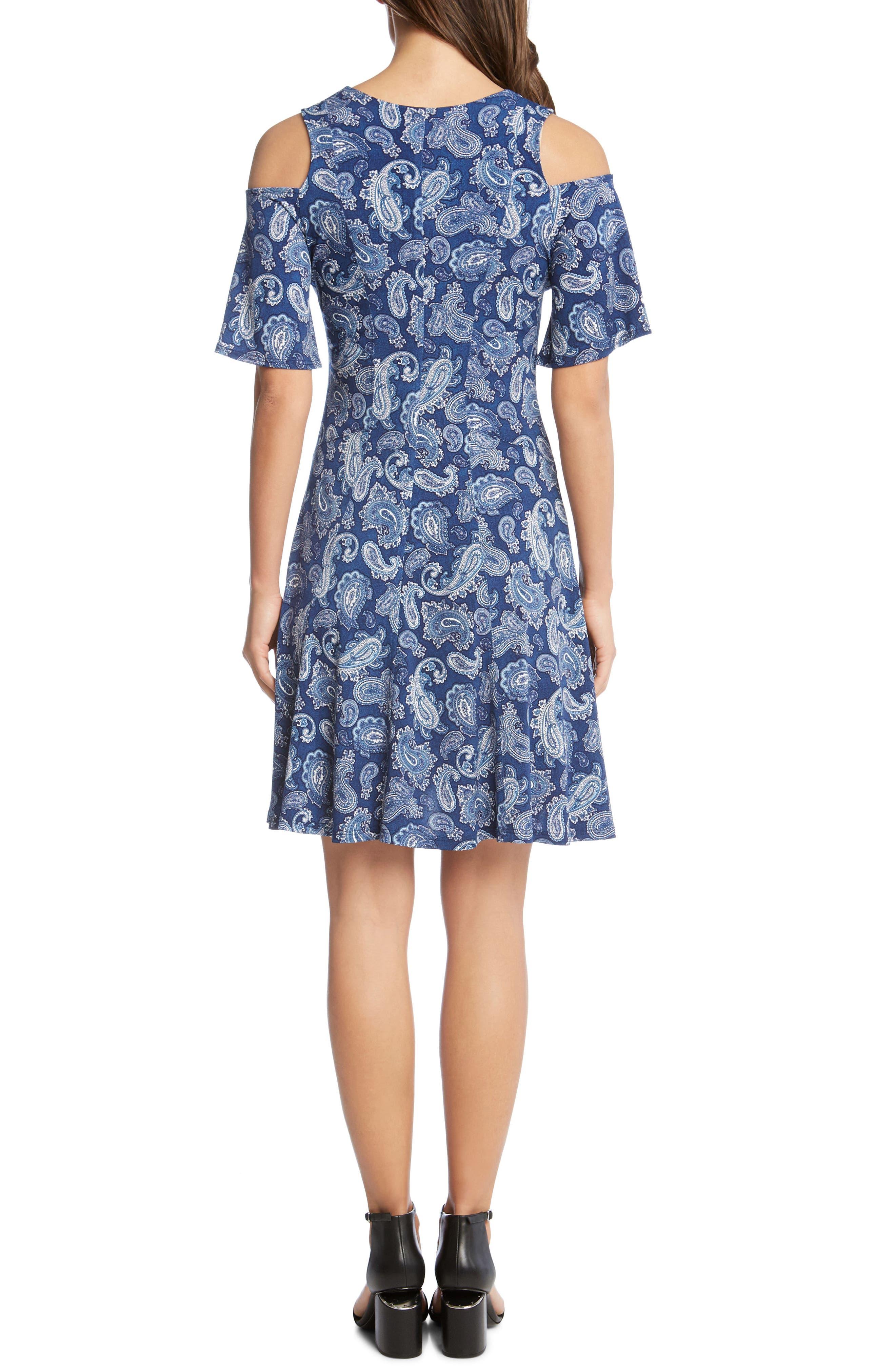 Cold Shoulder Paisley Dress,                             Alternate thumbnail 2, color,                             Paisley