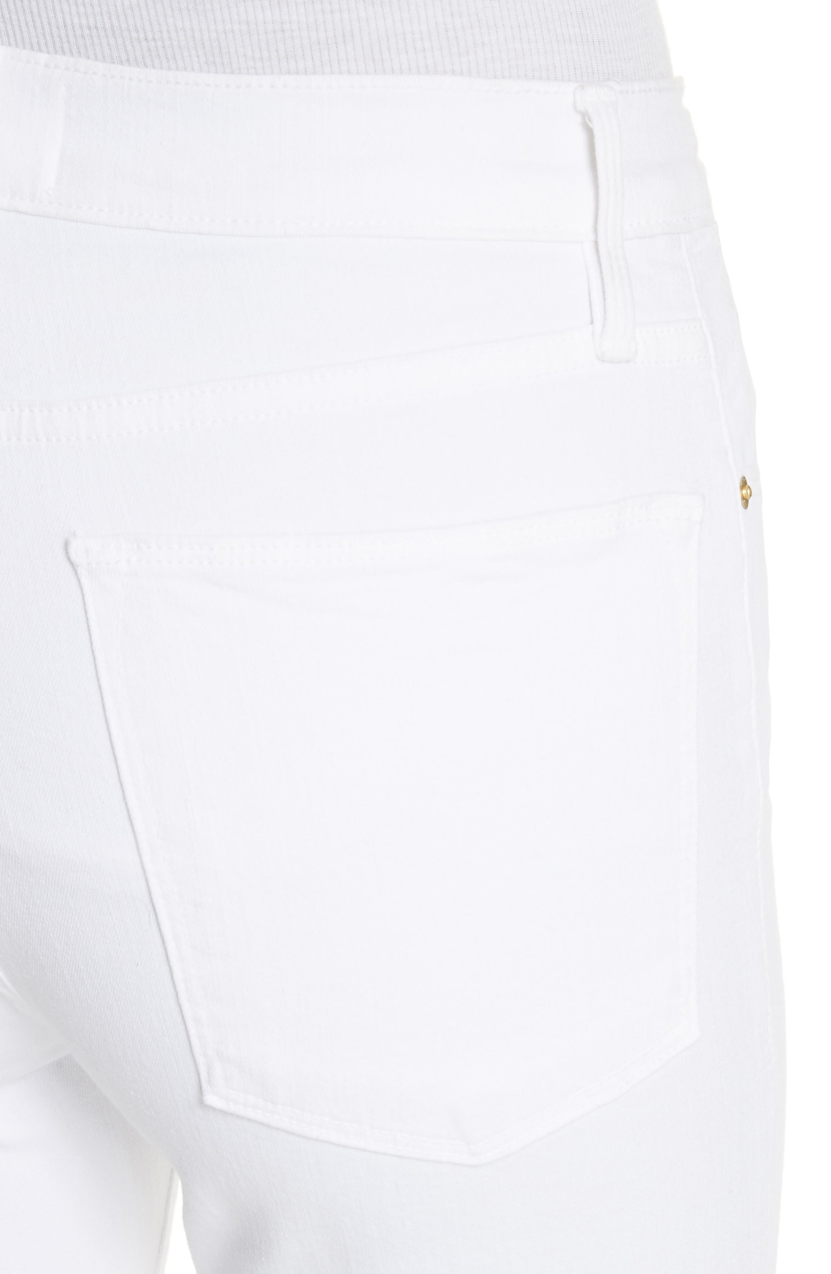 Le High Straight Feather Hem Jeans,                             Alternate thumbnail 4, color,                             Blanc