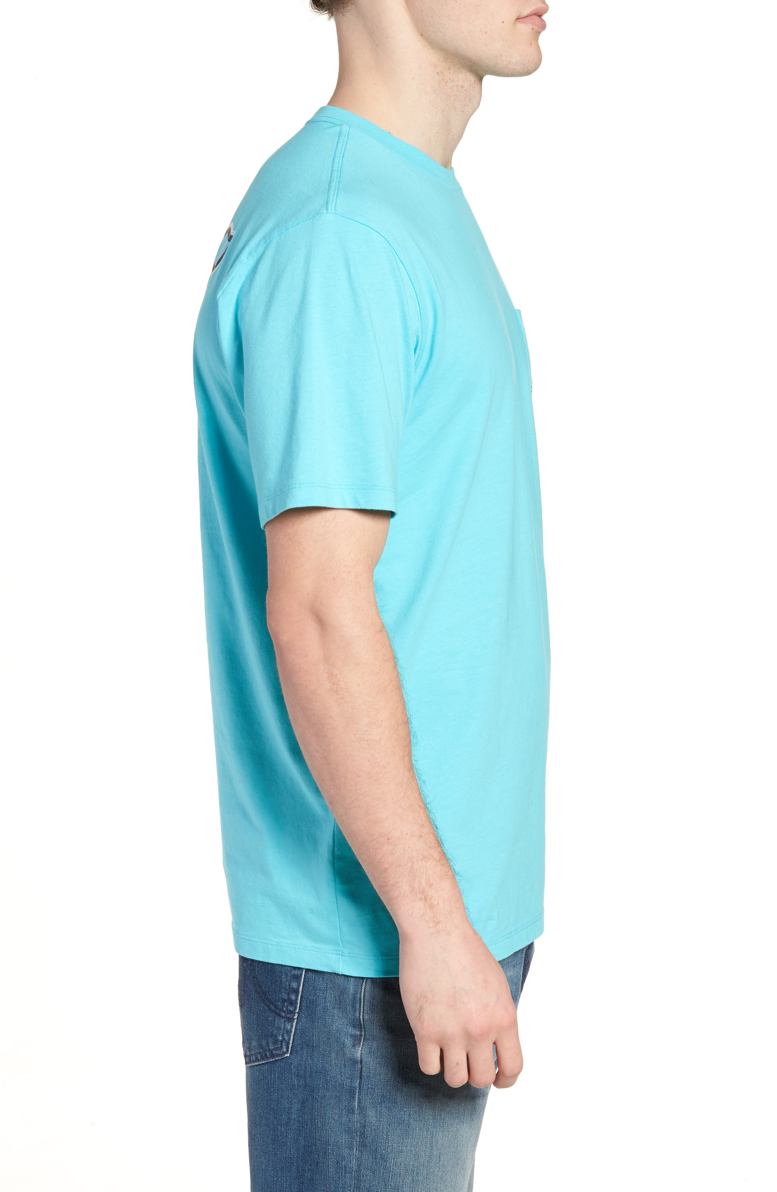 Marlin out of Water Whale Fill Pocket T-Shirt,                             Alternate thumbnail 3, color,                             Turquoise