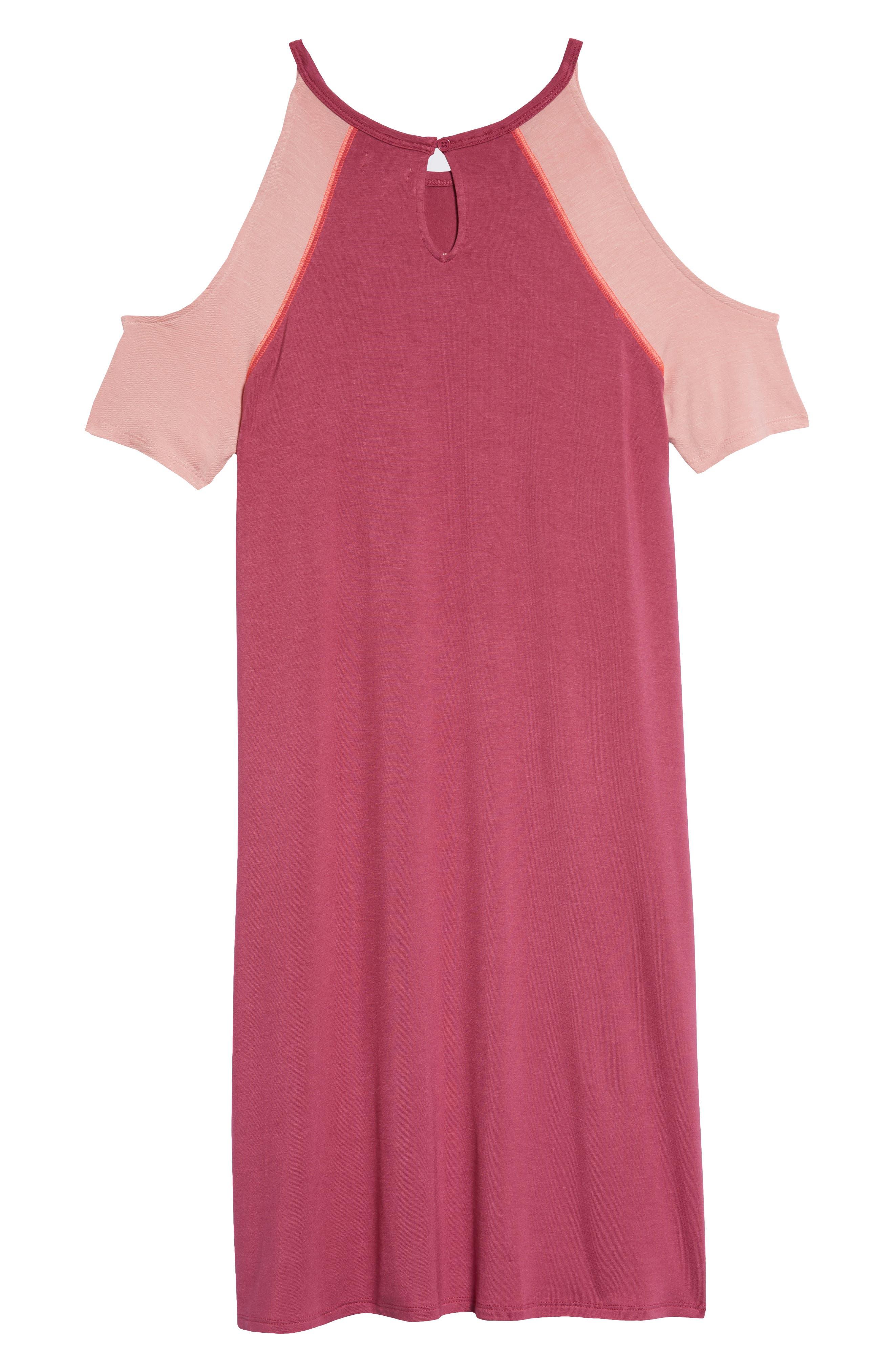 Cold Shoulder Dress,                             Alternate thumbnail 2, color,                             Magenta Pink