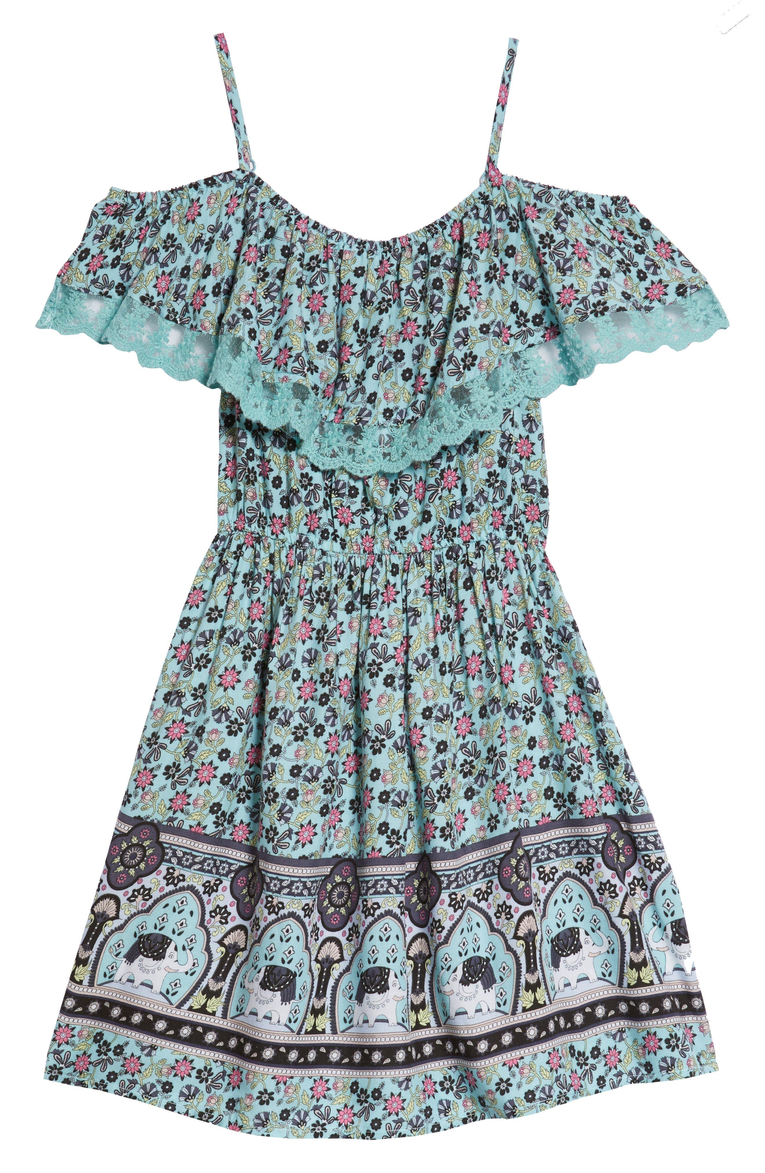 Cold Shoulder Fit & Flare Dress,                             Main thumbnail 1, color,                             Aqua Elephant