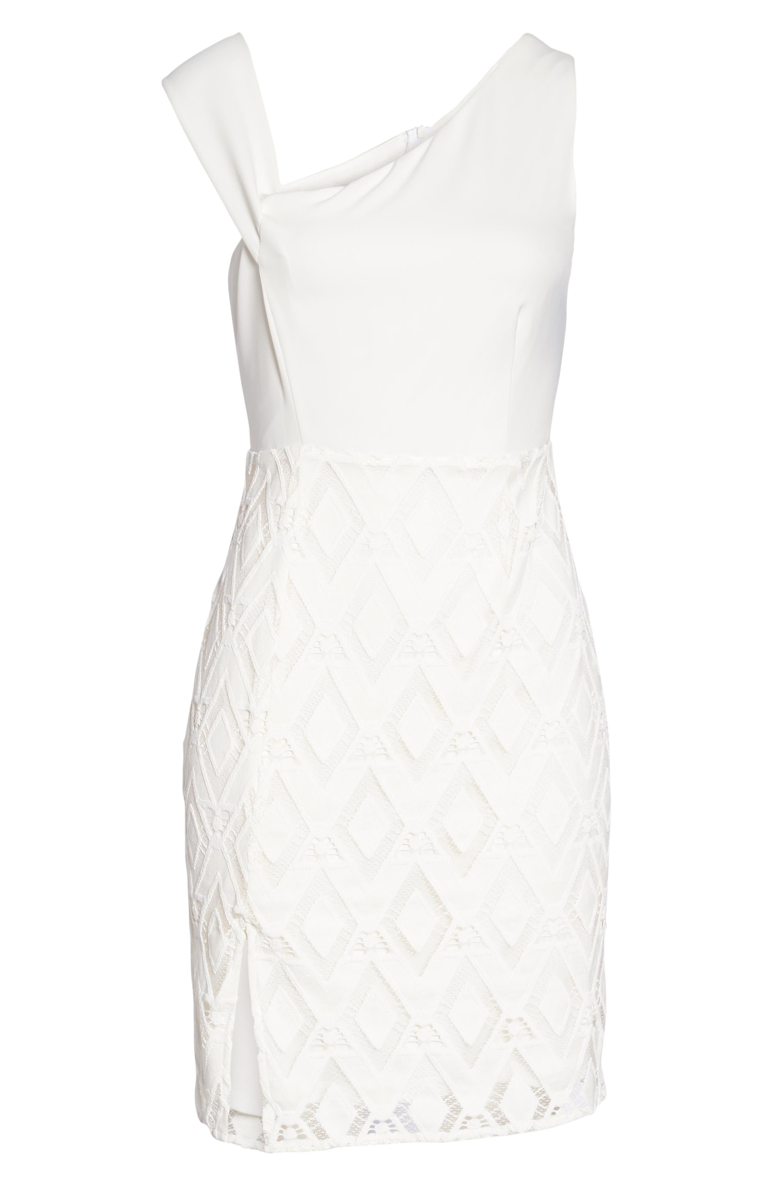 One-Shoulder Lace Sheath Dress,                             Alternate thumbnail 7, color,                             White
