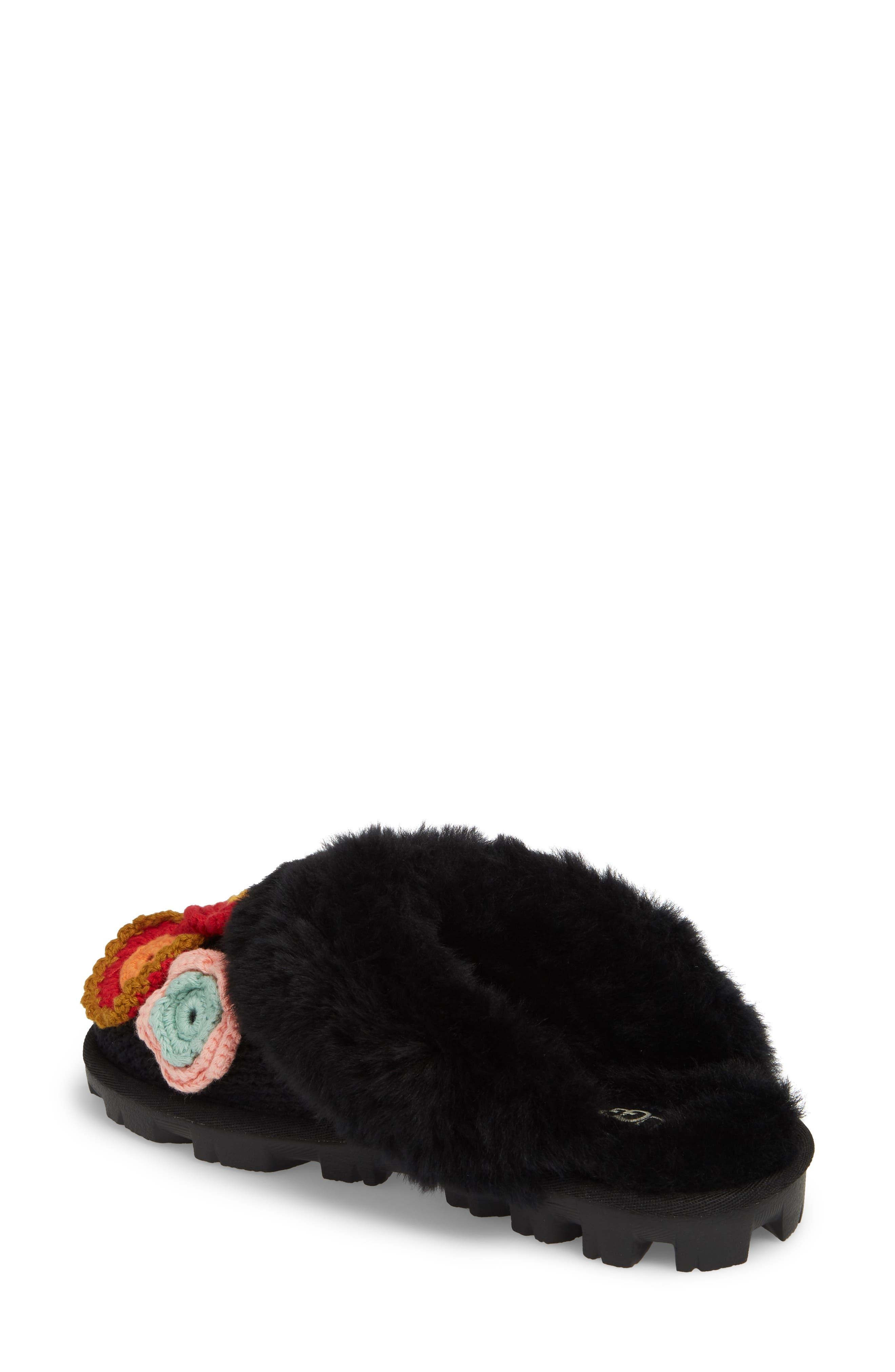 Crochet Genuine Shearling Slipper,                             Alternate thumbnail 2, color,                             Black