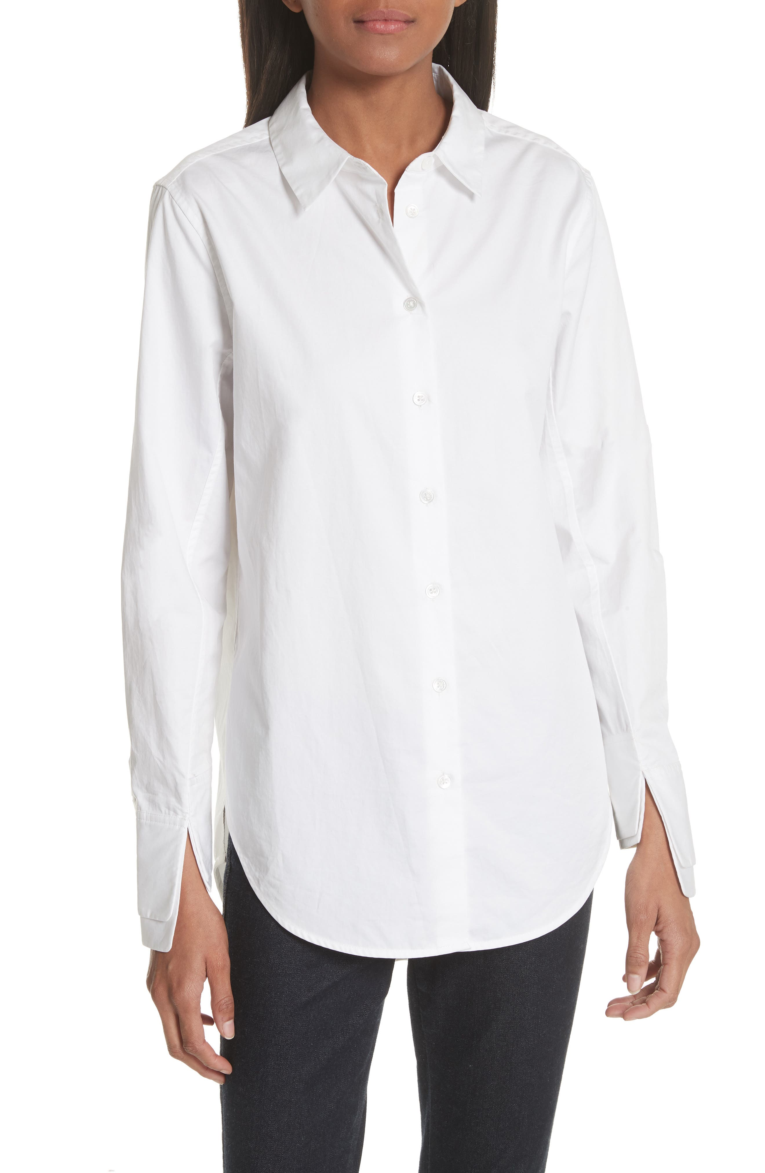 Essential Layered Split Cuff Blouse,                             Main thumbnail 1, color,                             Bright White
