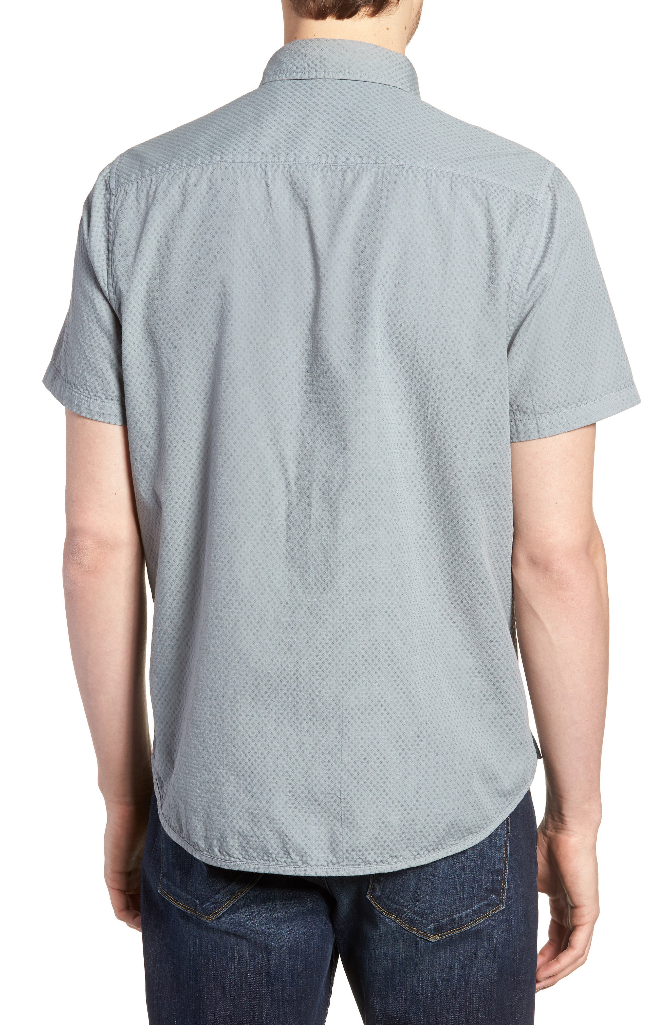 Slim Fit Garment Dyed Sport Shirt,                             Alternate thumbnail 3, color,                             True Gray