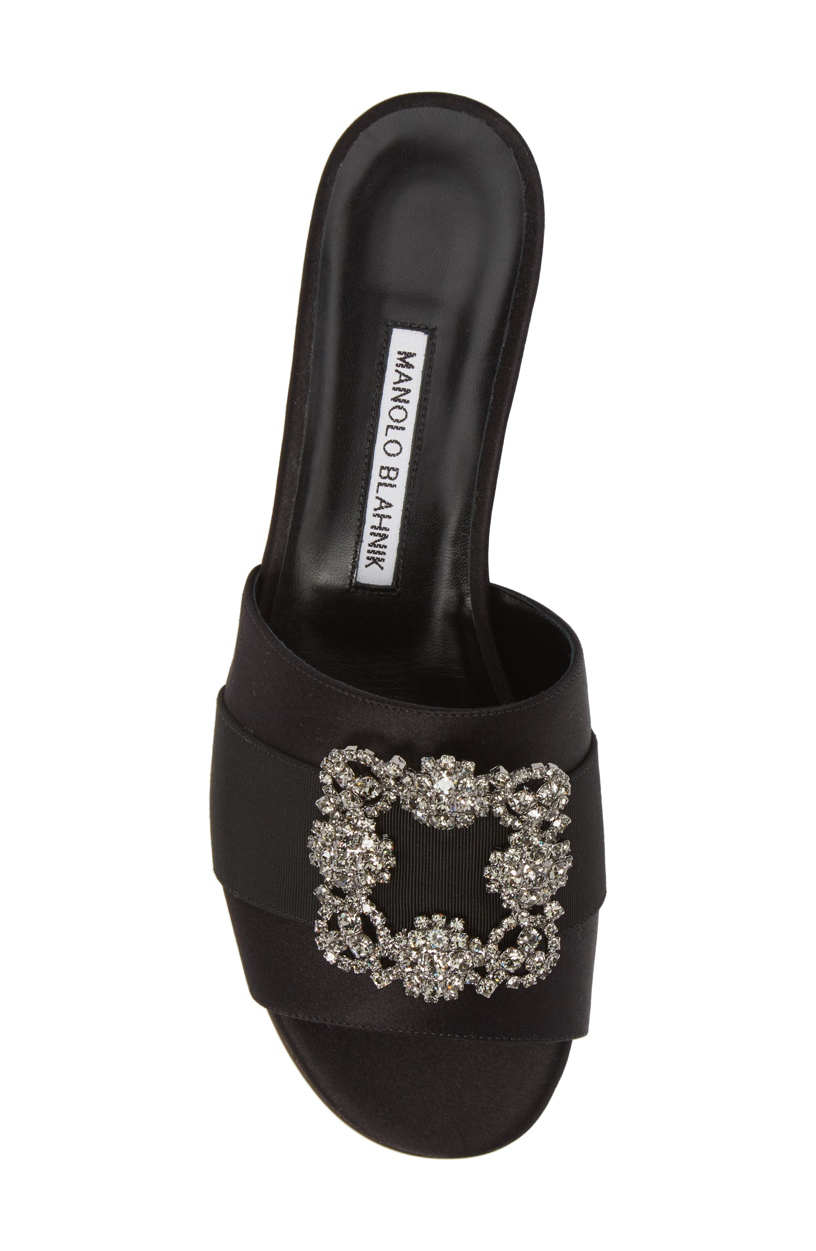 Martamod Crystal Embellished Slide Sandal,                             Alternate thumbnail 5, color,                             Black Satin